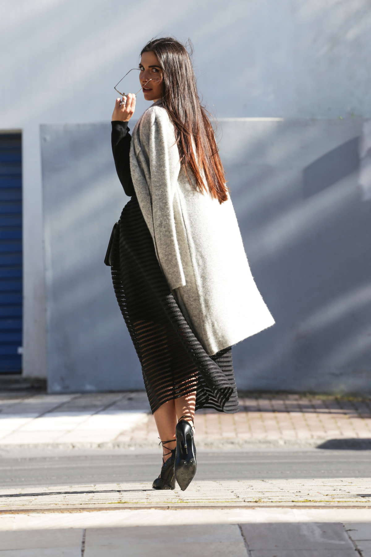 zini striped full skirt