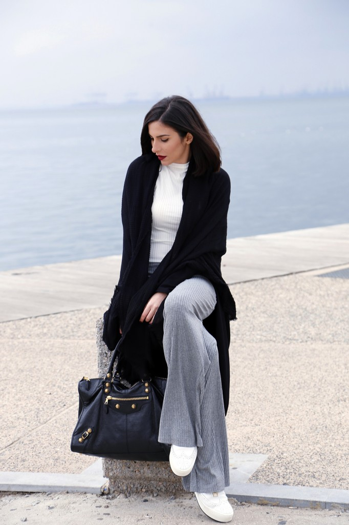 black grey white look
