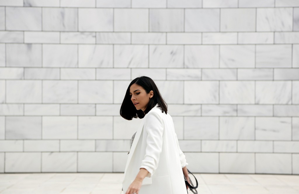 White Blazer & Extra Flared Trousers