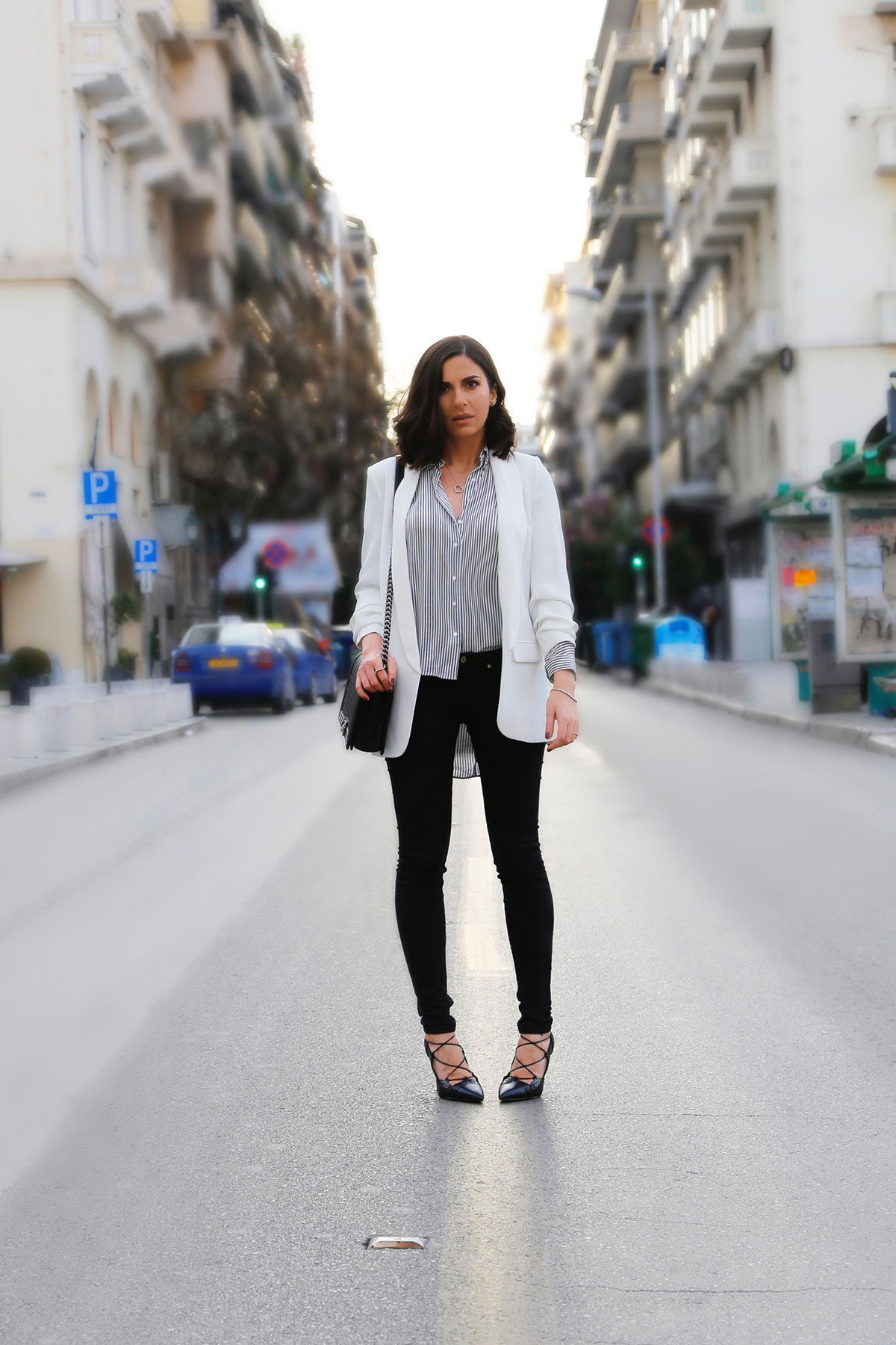 white blazer black jeans