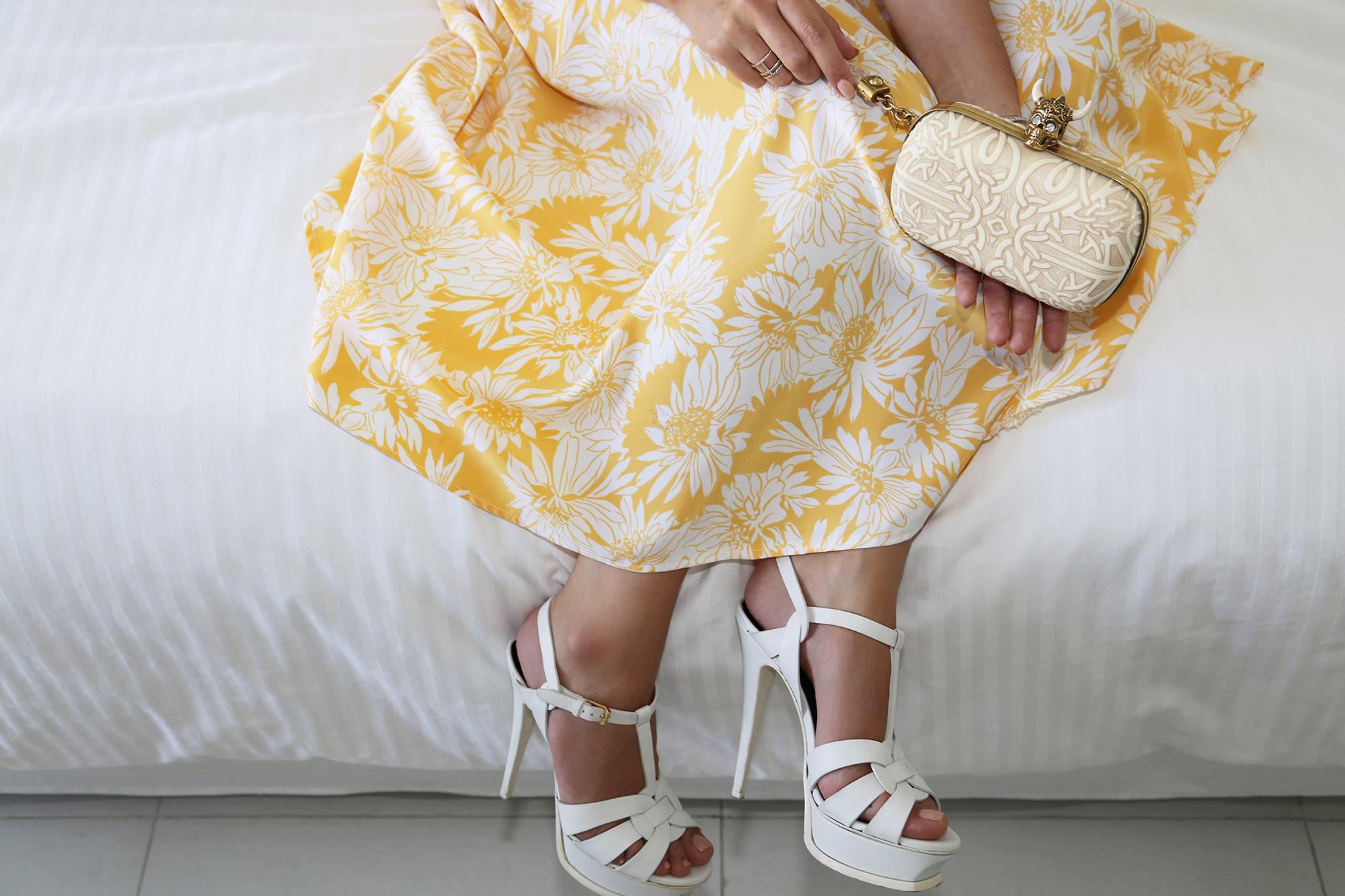 saint laurent tribute sandals and mcqueen clutch