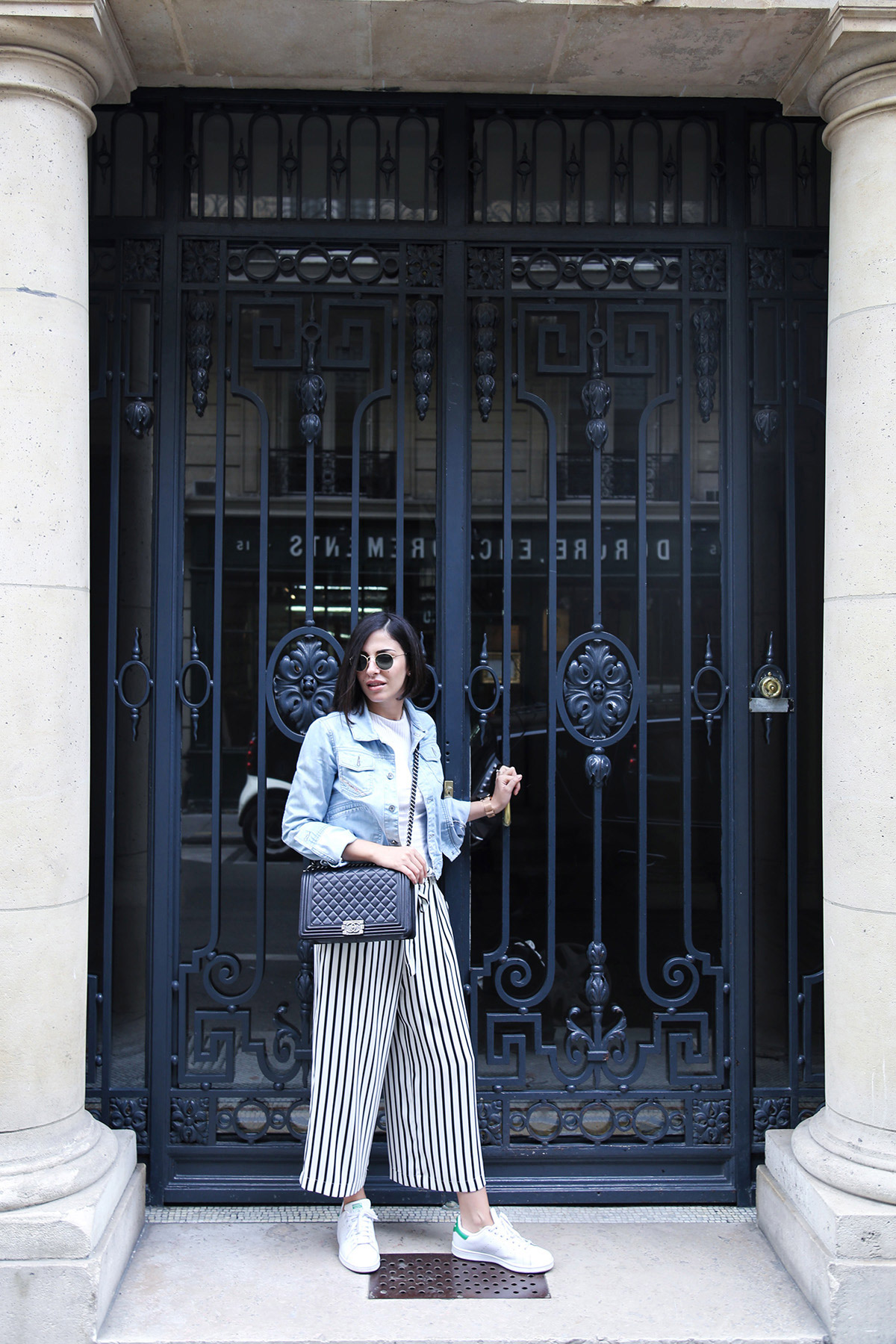 stripped culottes casual look