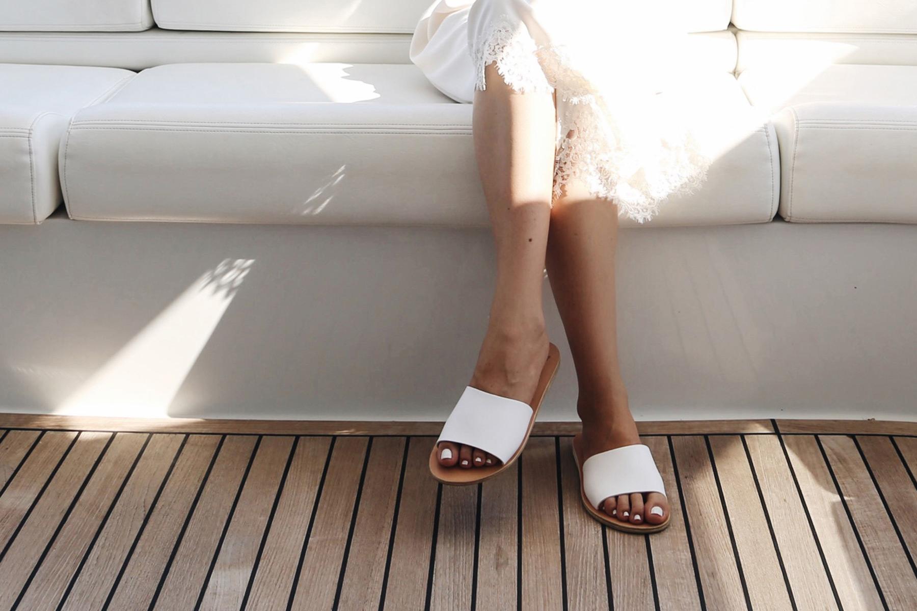 ancient greek sandals target white