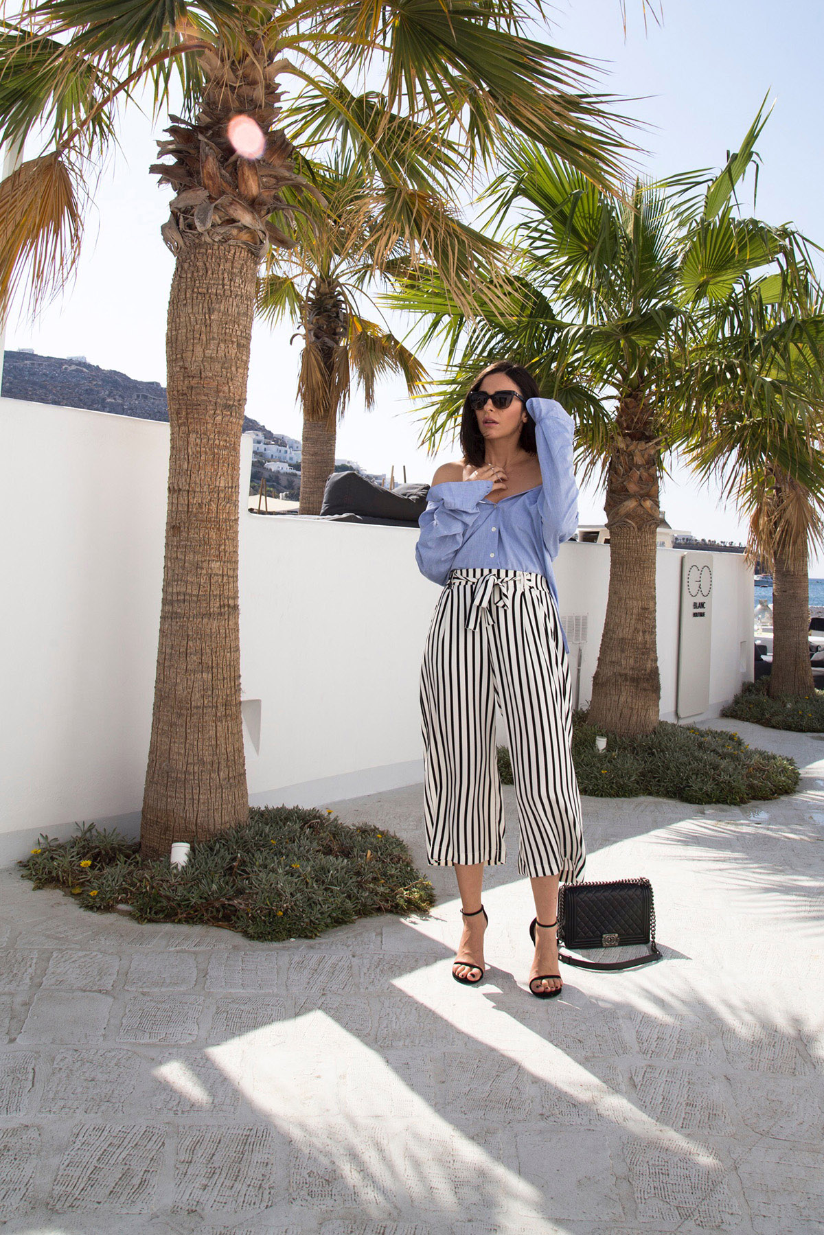 cold shoulder look in Mykonos