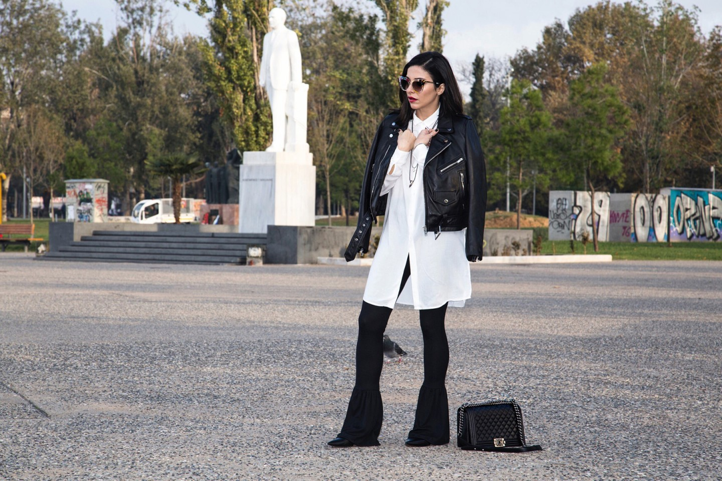 black and white edgy chic look