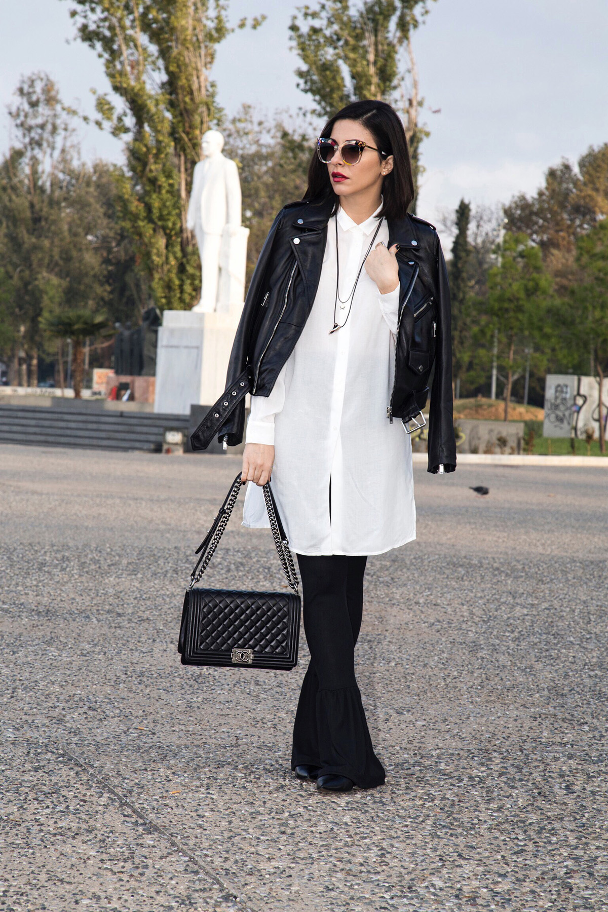 black and white edgy chic outfit
