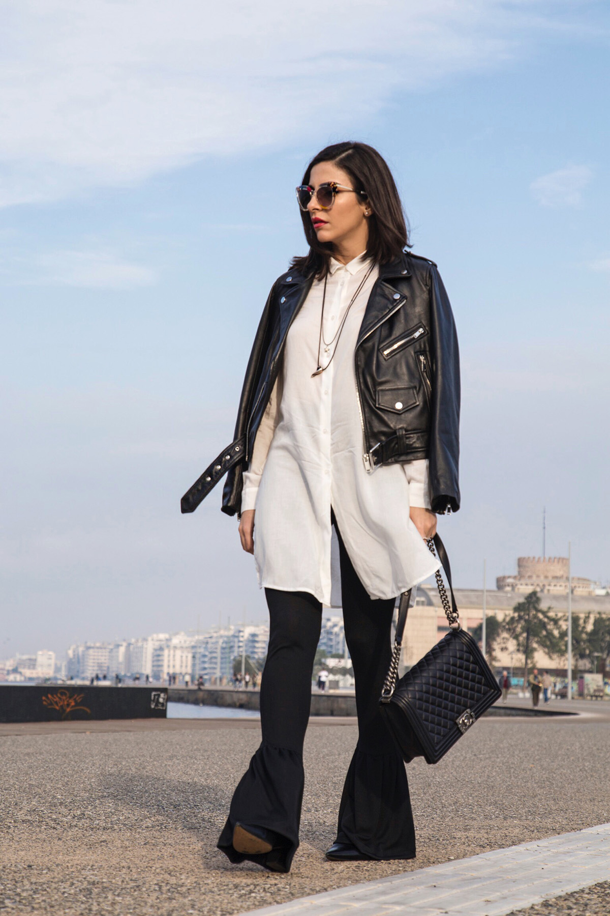 black and white edgy chic streetstyle