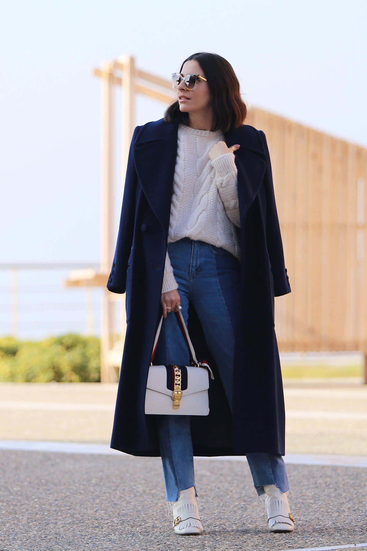 Navy Blue Coat & Gucci