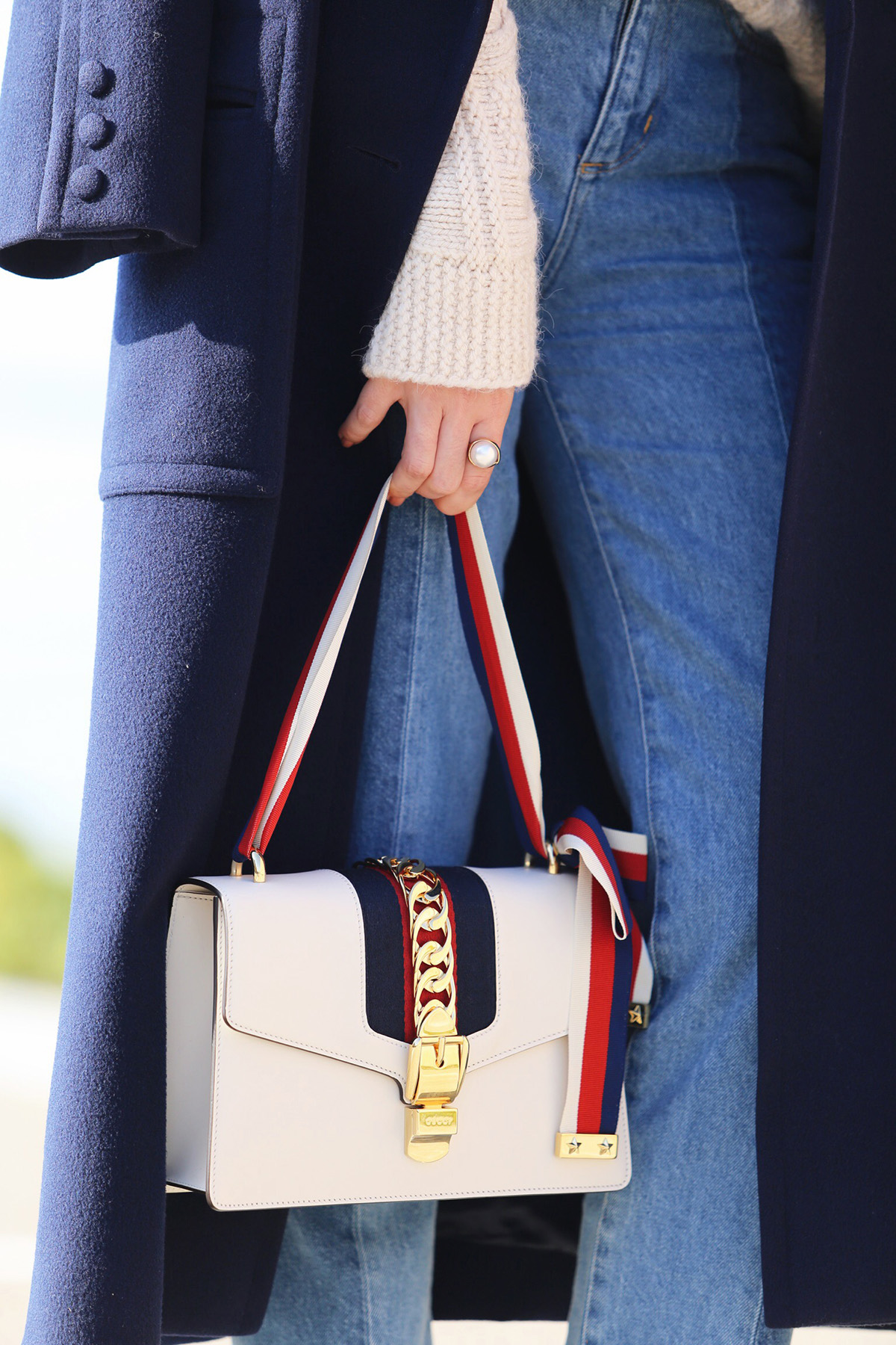 Navy Blue Coat & Gucci Sylvie Bag