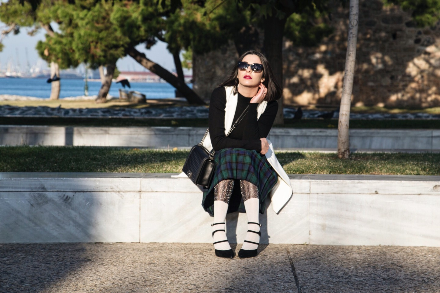 tartan pleated skirt look