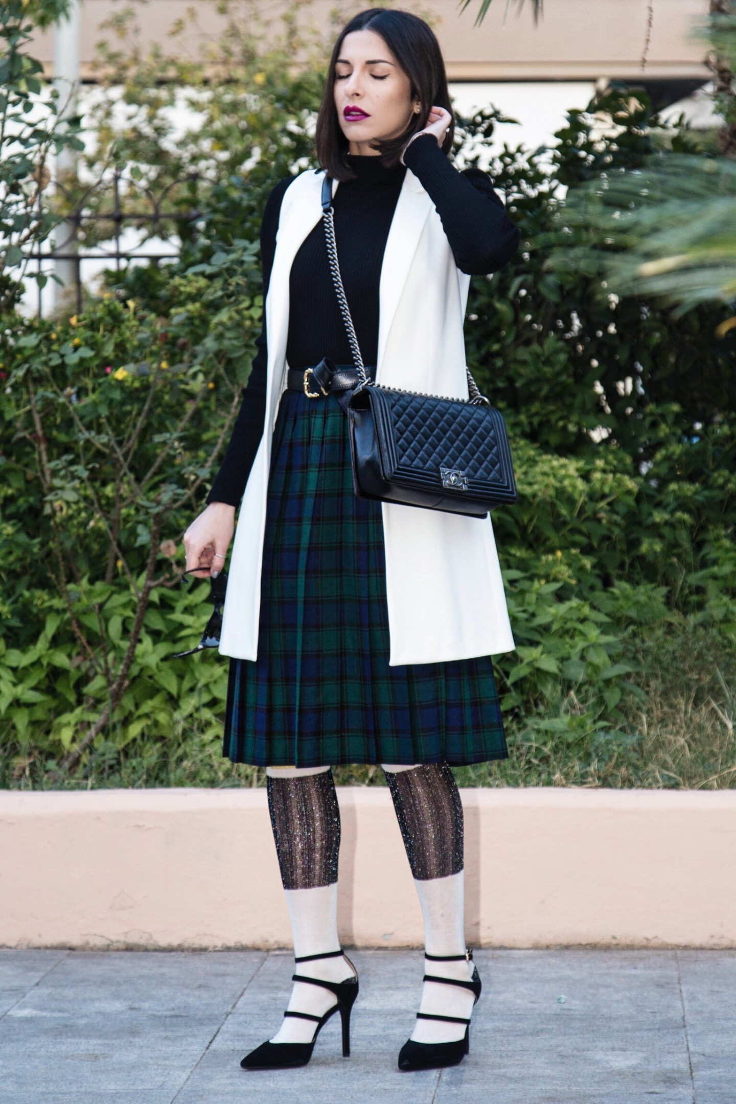 tartan pleated skirt style