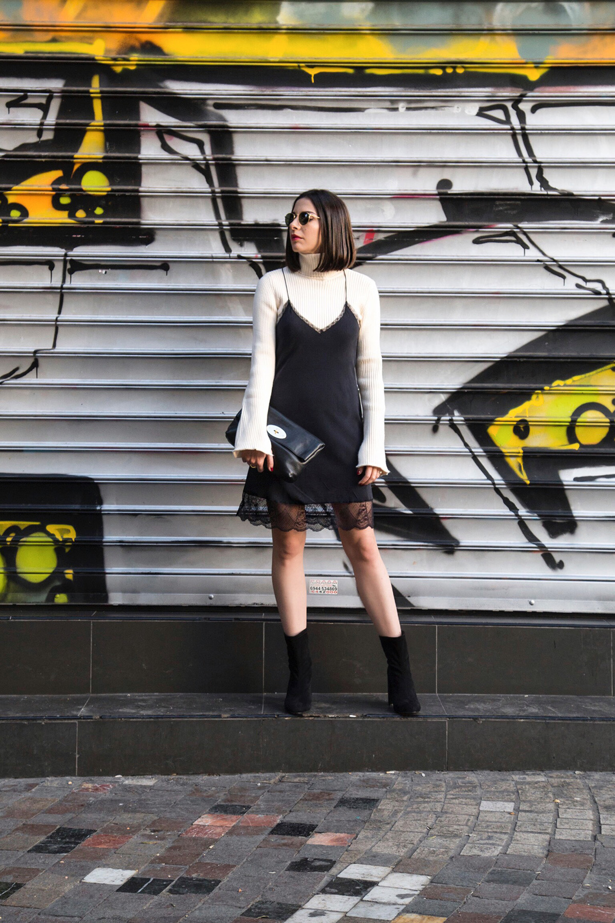 slip dress and turtleneck style