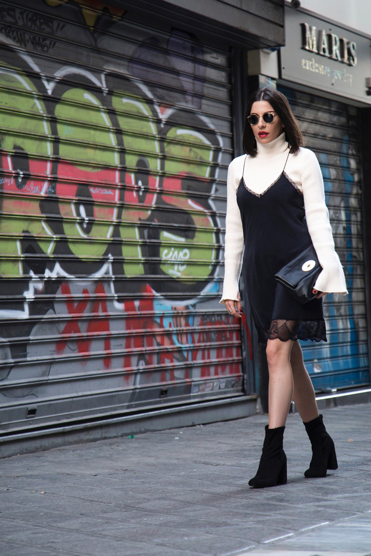 slip dress and turtleneck street style