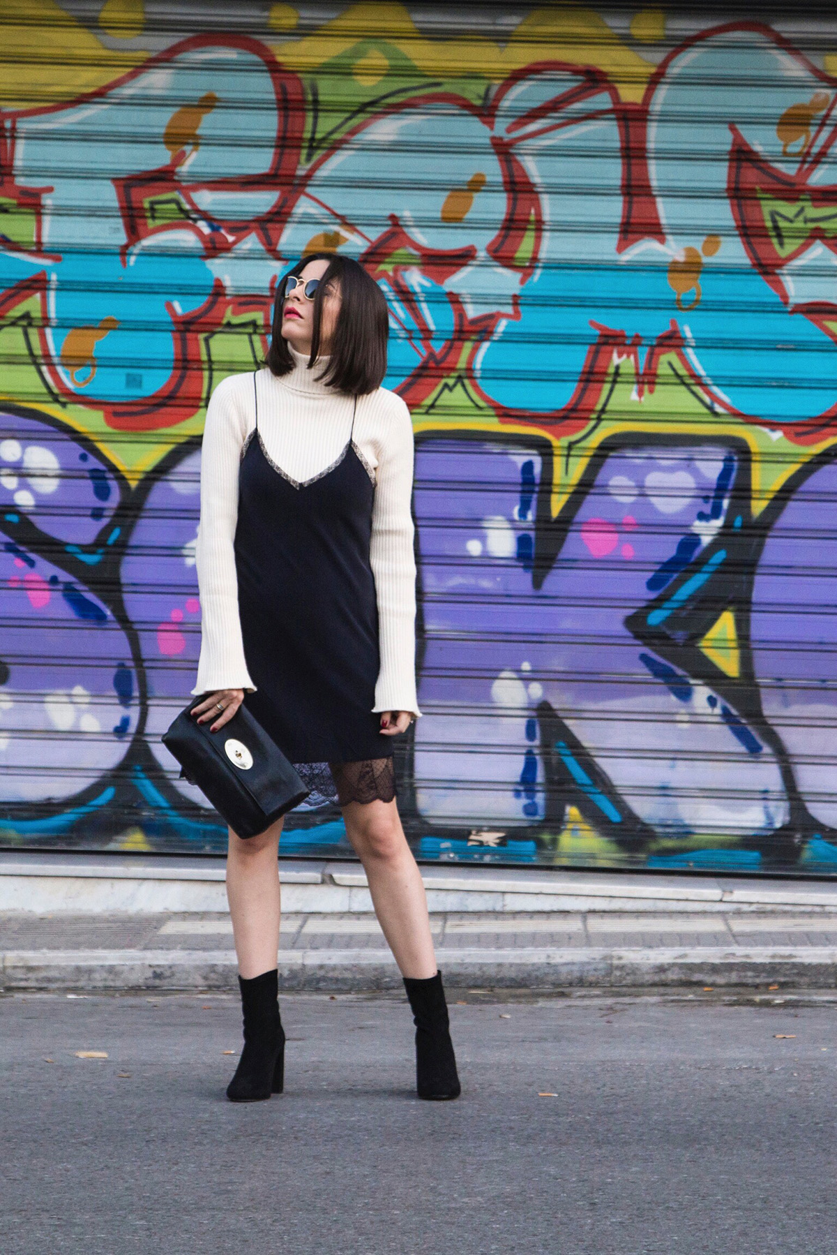 slip dress and turtleneck by Stella Asteria