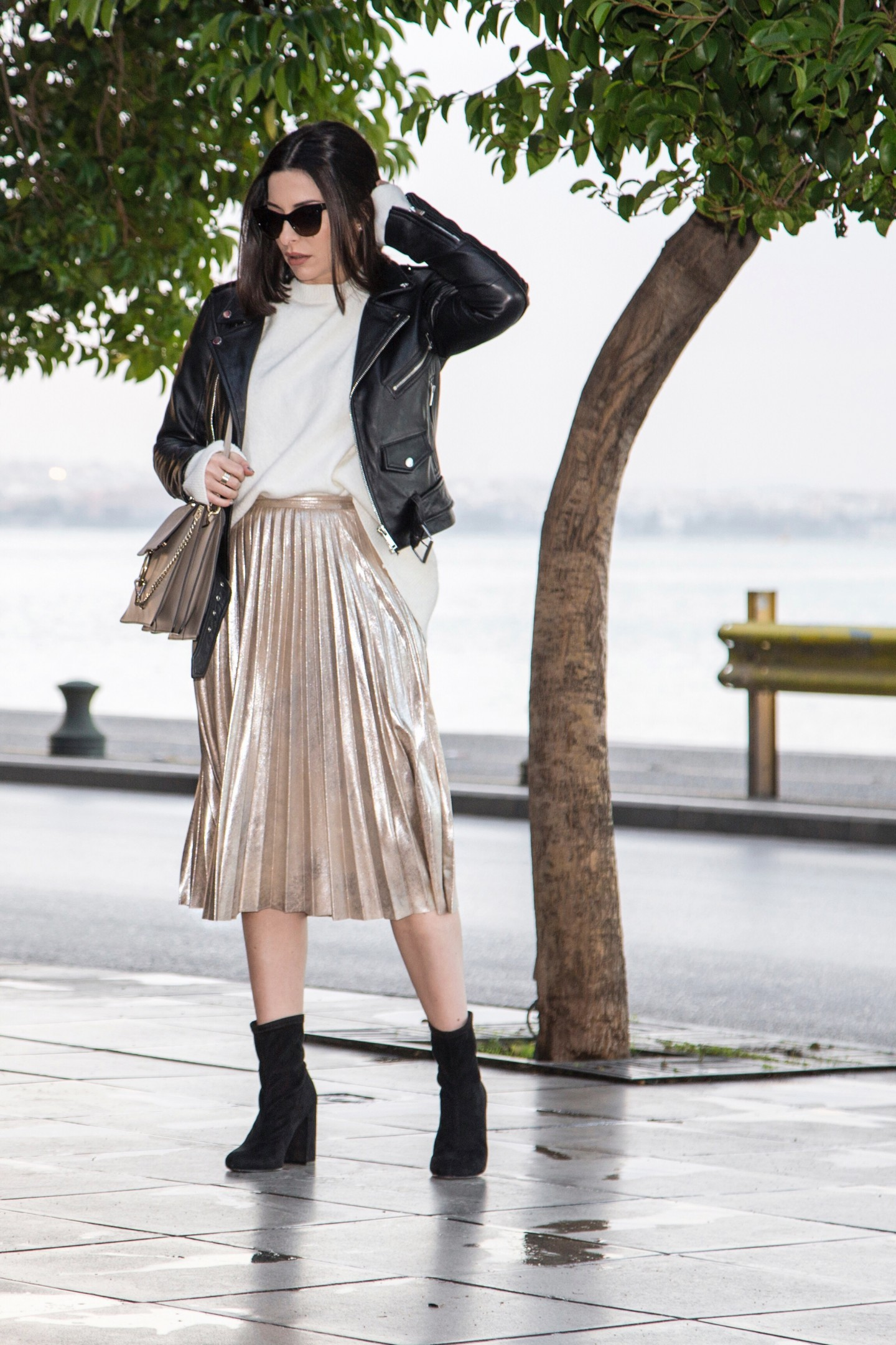 metallic accordion pleat skirt