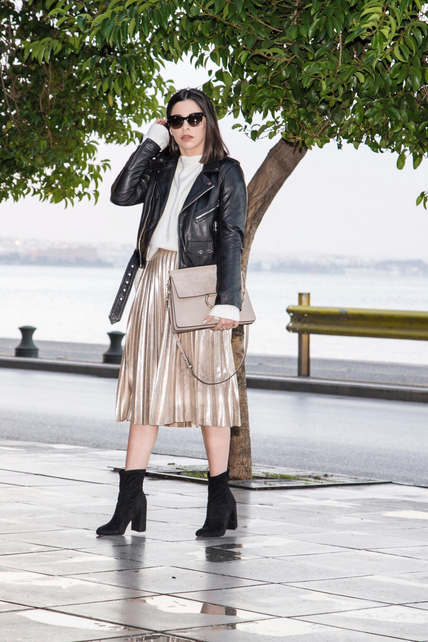 metallic accordion pleat skirt look