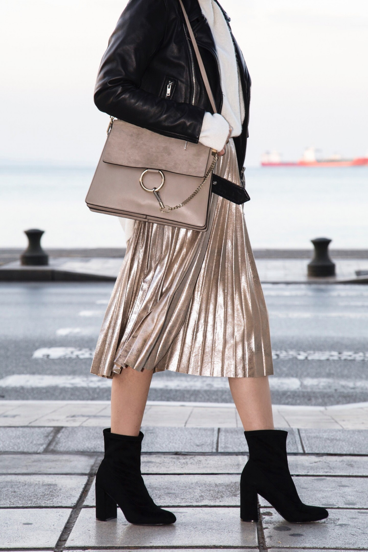 metallic accordion pleat skirt and Chloe Faye bag