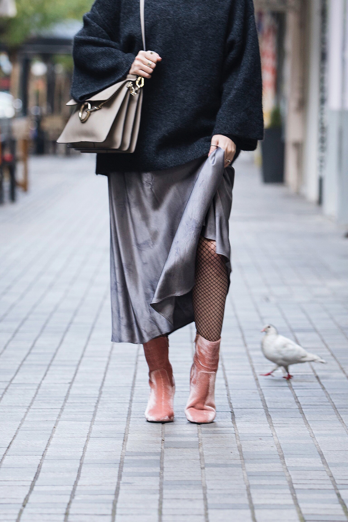 pink velvet boots and Chloe Faye bag in grey