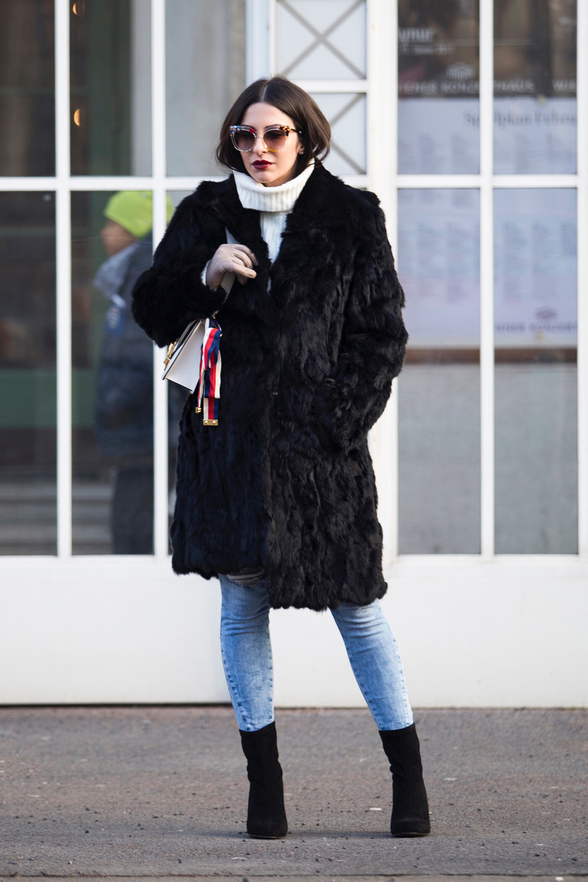 Fur Coat & Gucci Sylvie Bag in Vienna