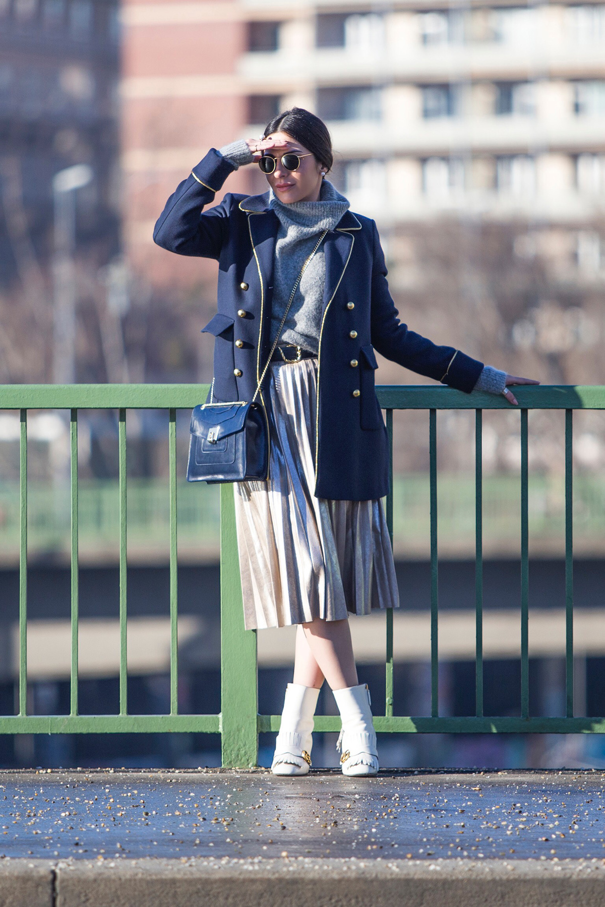 Navy Military Coat & Metallic Pleated Skirt in Vienna – Day 2