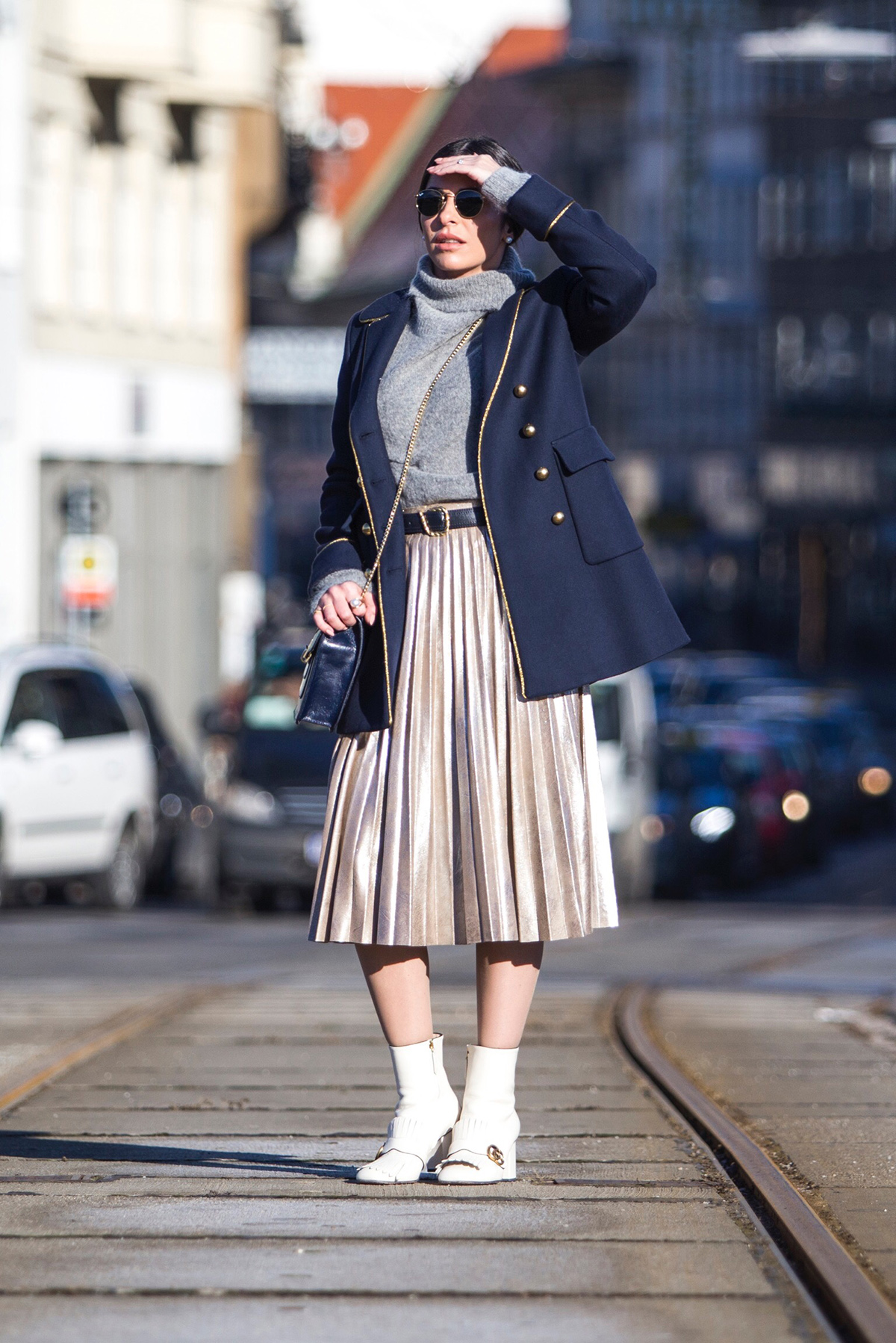 navy military coat outfit
