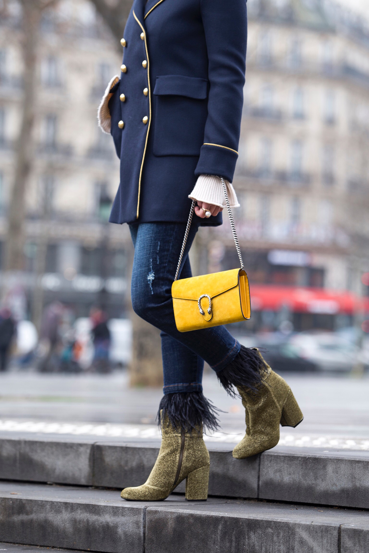 Stella Asteria fashion & lifestyle blogger wearing Pinko military coat and Gucci Dionysus bag