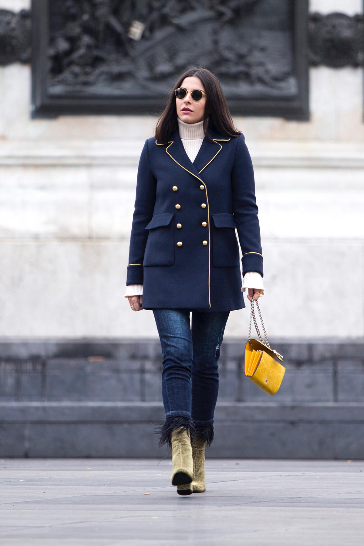Stella Asteria wearing military coat from Pinko in Paris