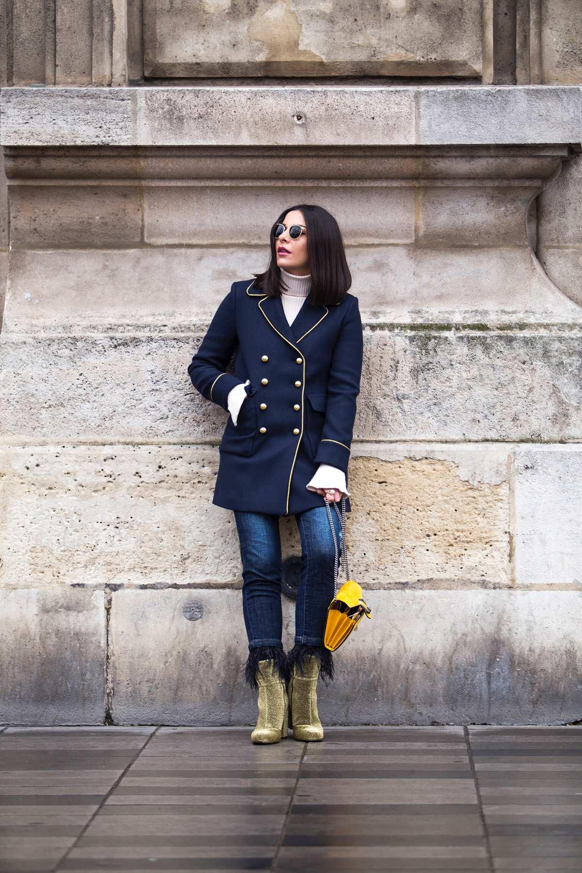 Paris street style with military coat by Fashion & Lifestyle blogger Stella Asteria