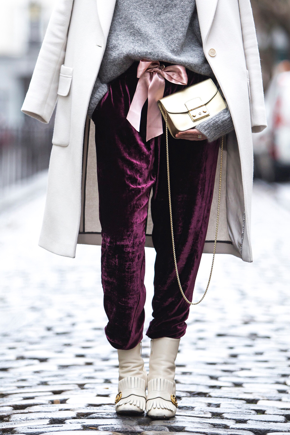 Pinko bordeaux velvet pants & Furla bag