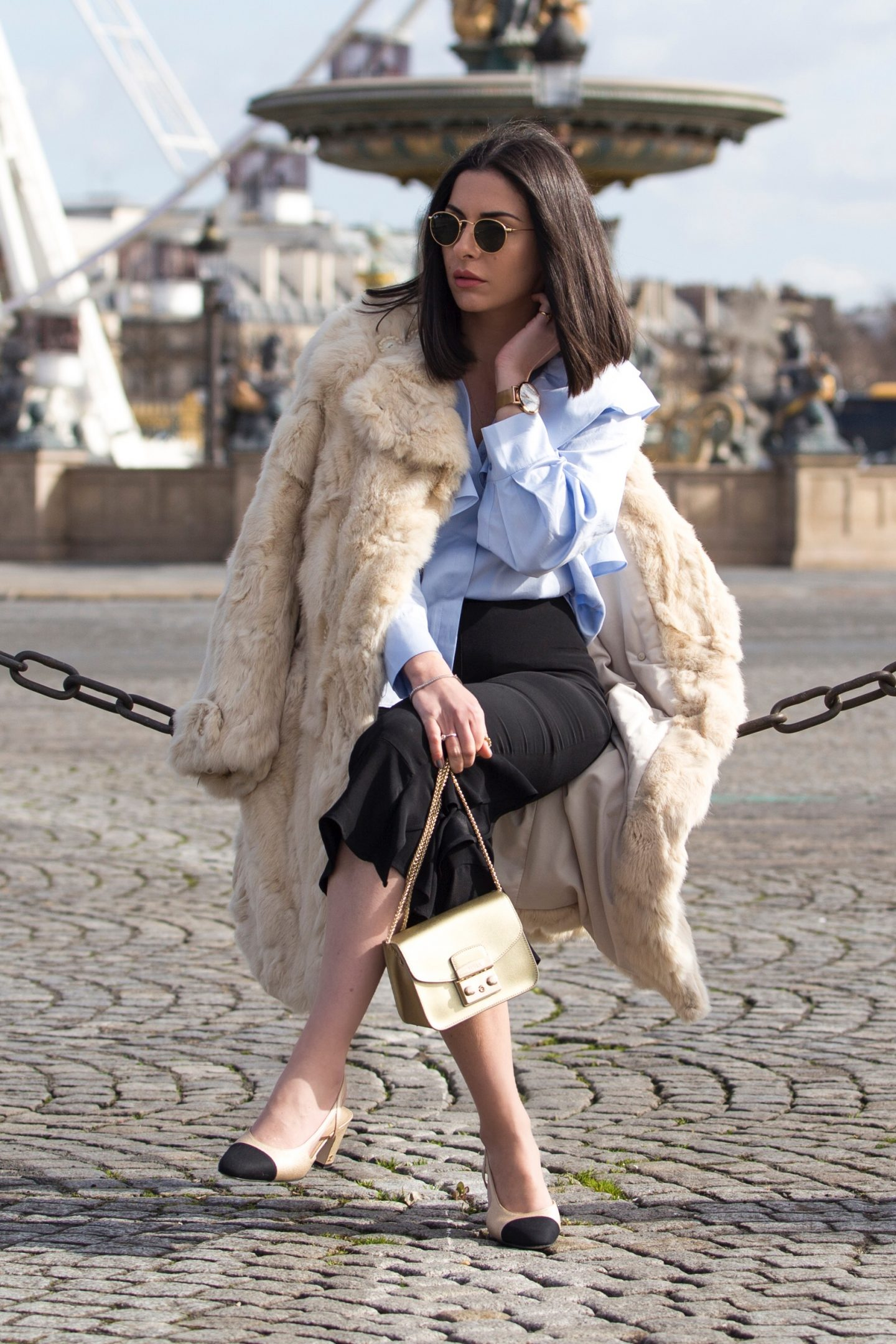 Ruffled Blouse & Chanel Slingbacks For Paris Fashion Week