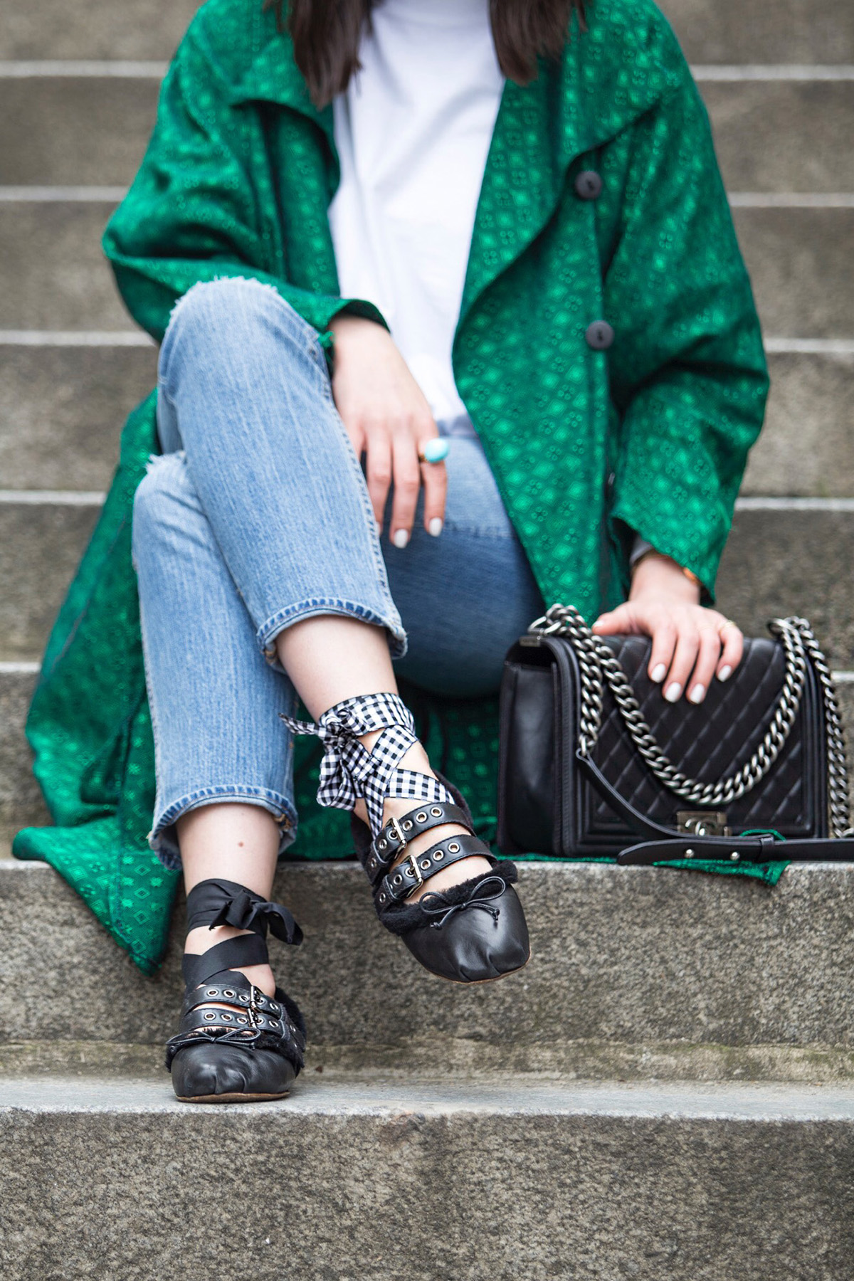 Green Trench Coat & Miu Miu Ballerinas