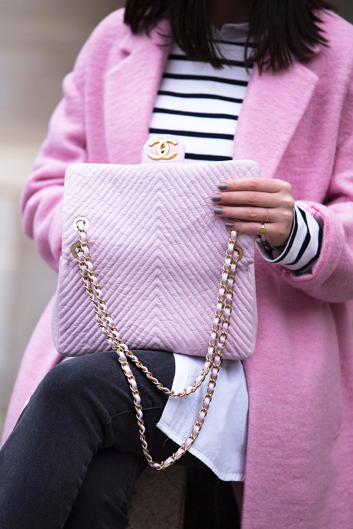 Pink Chanel Bag & Stripes At Palais Royal
