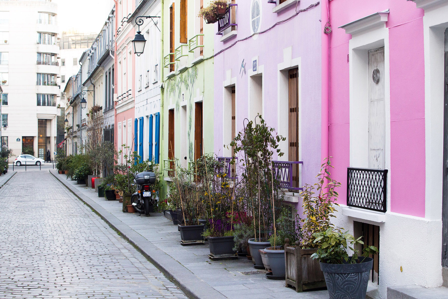 Paris street with colourful houses