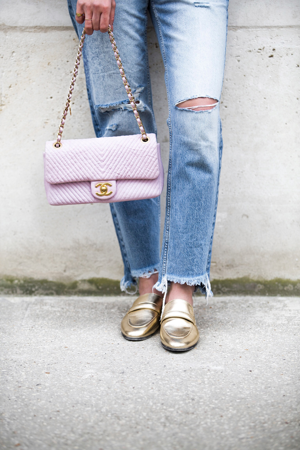 Pink Chanel Chevron Leather Bag and Gold Slippers