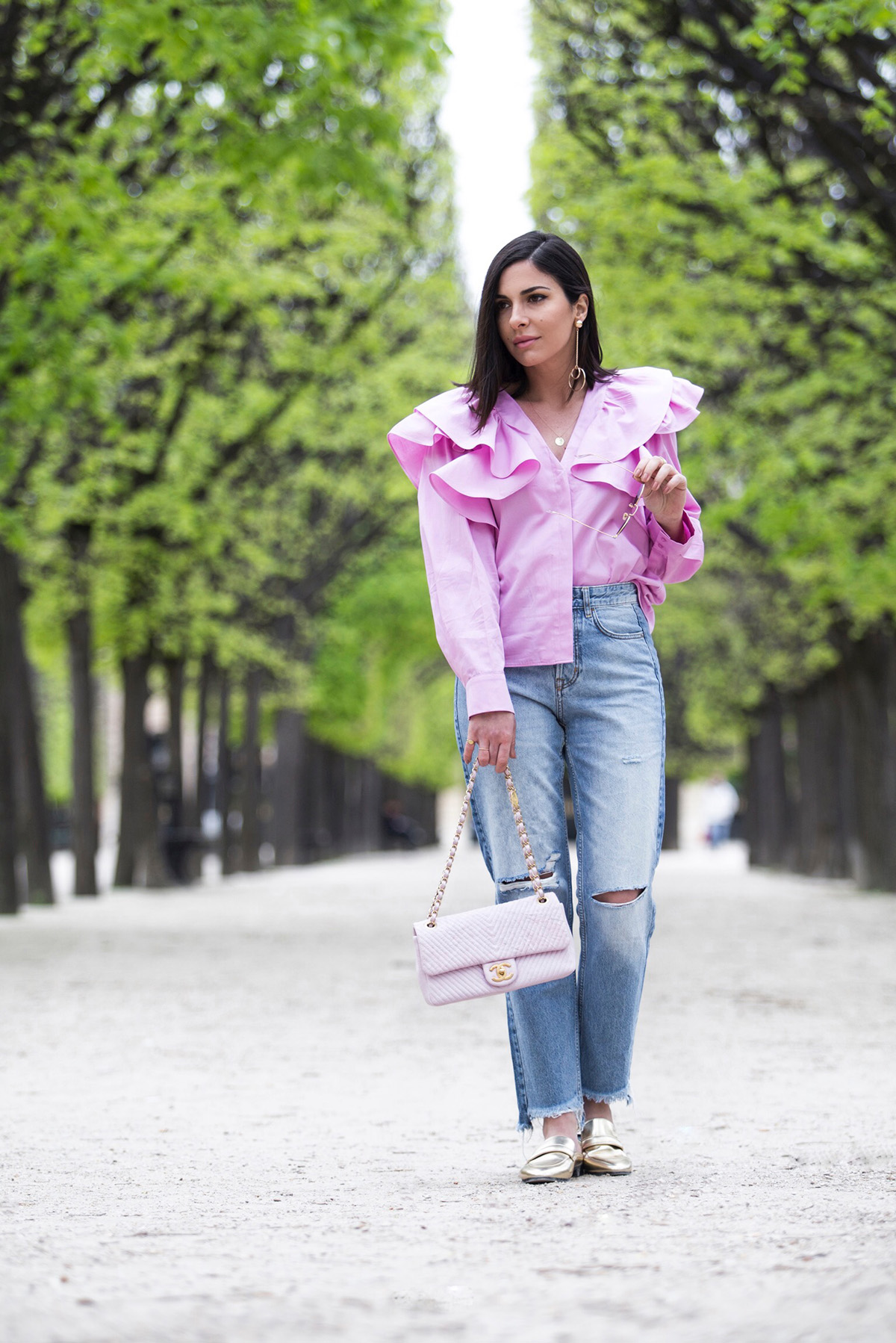 Pink Ruffle Blouse, Jeans & Chanel Pink Chevron Bag