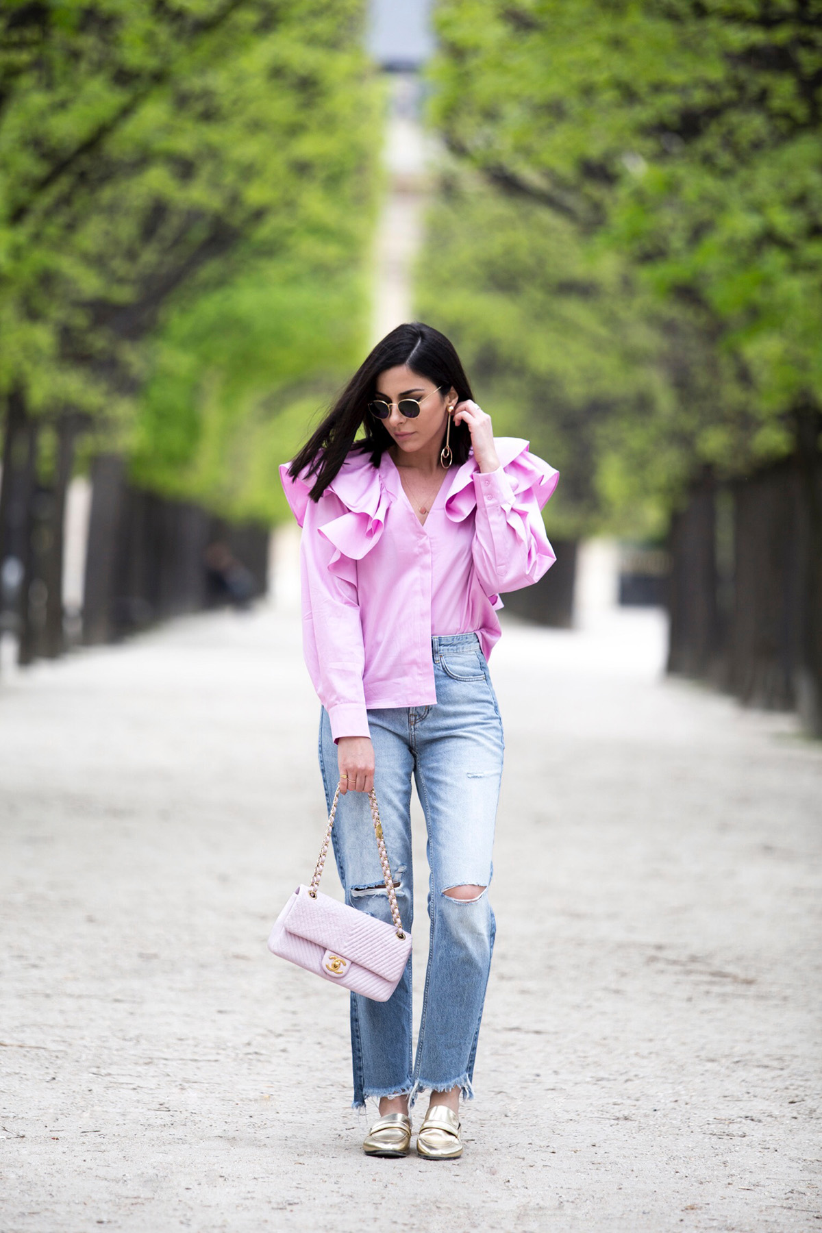 ruffle blouse in pink as seen on Stella Asteria Fashion & Lifestyle Blogger