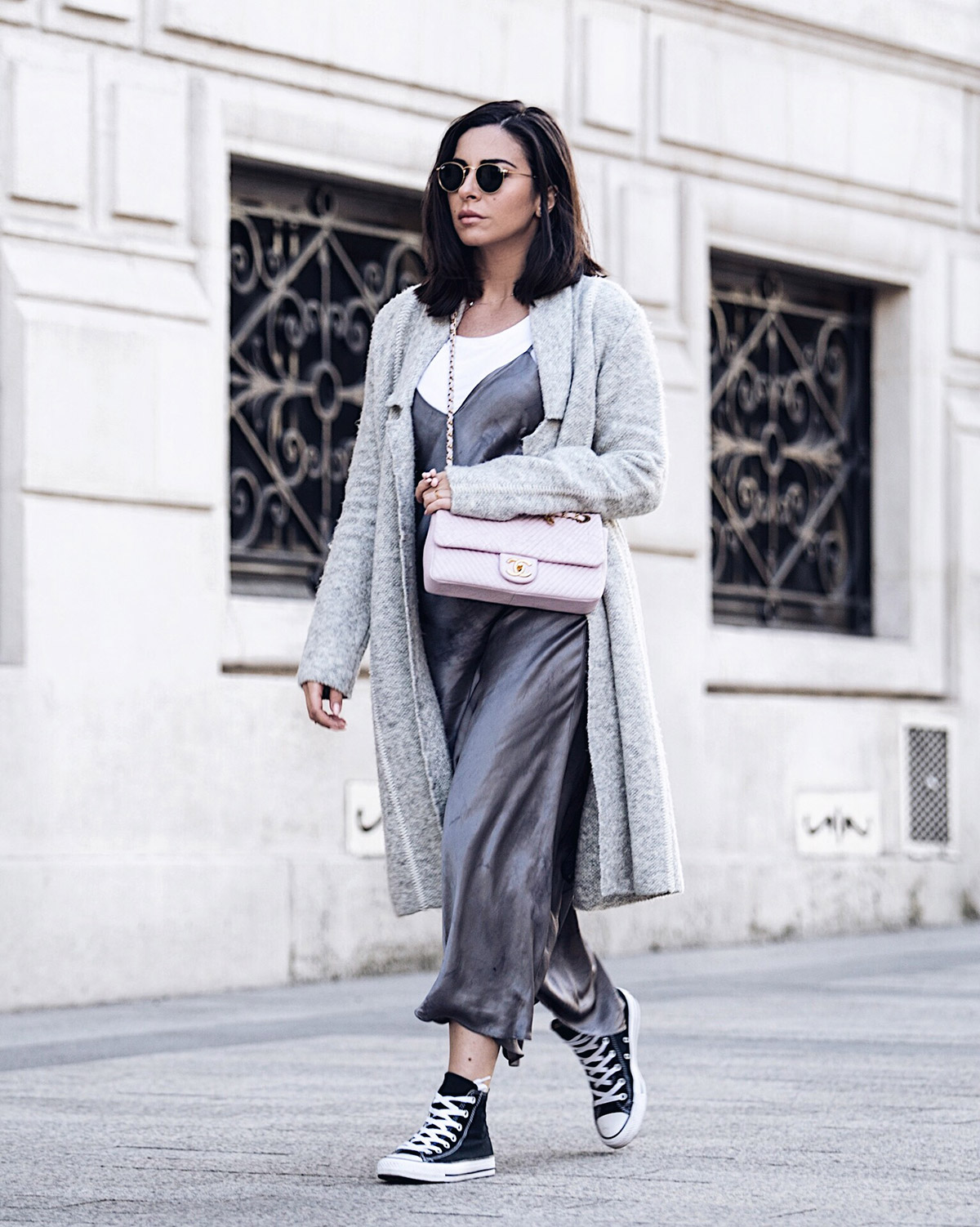 grey slip dress & pink Chanel bag by Stella Asteria Fashion & Lifestyle Blogger