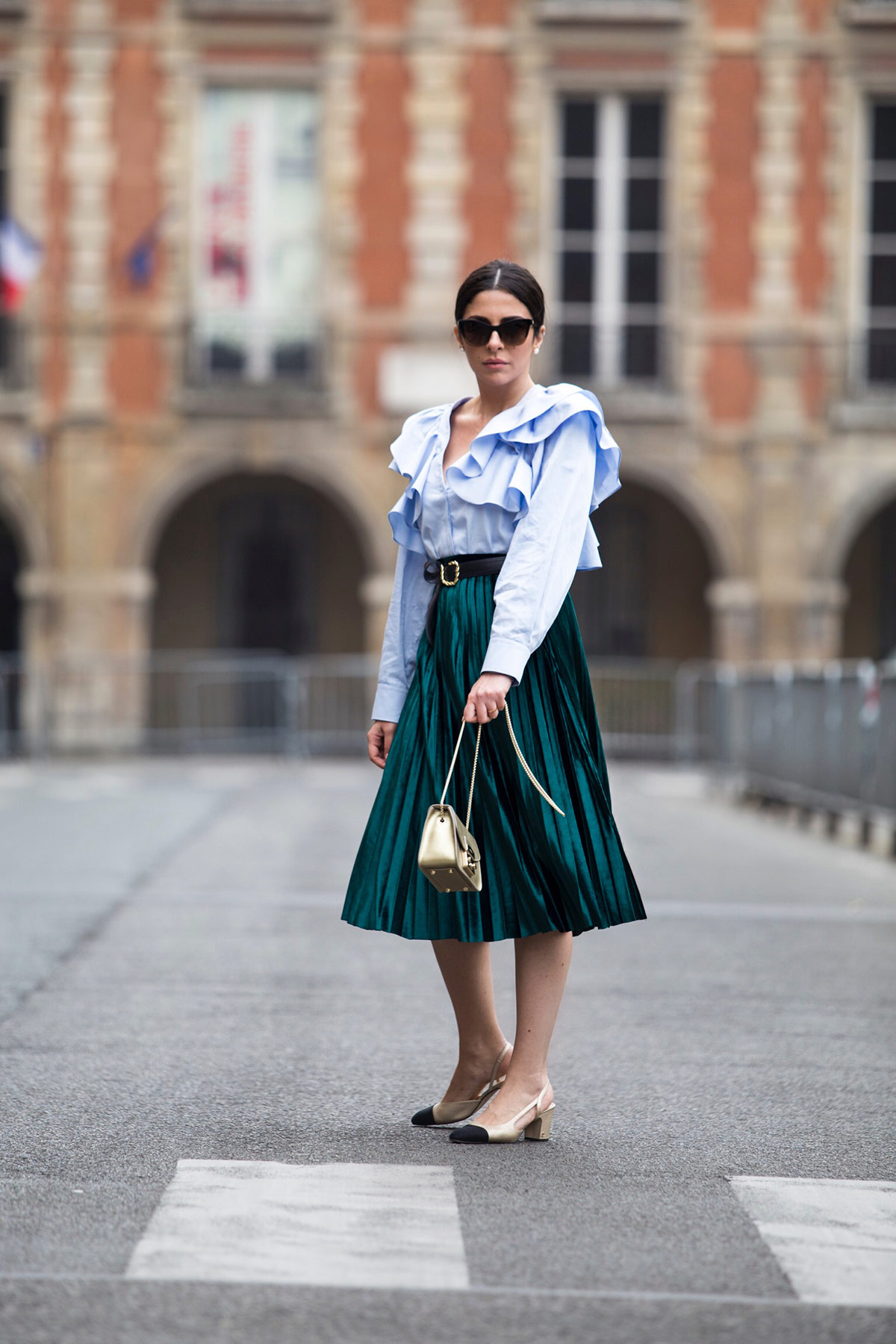 green pleated skirt and blue ruffled blouse by Stella Asteria - Fashion & Lifestyle Blogger