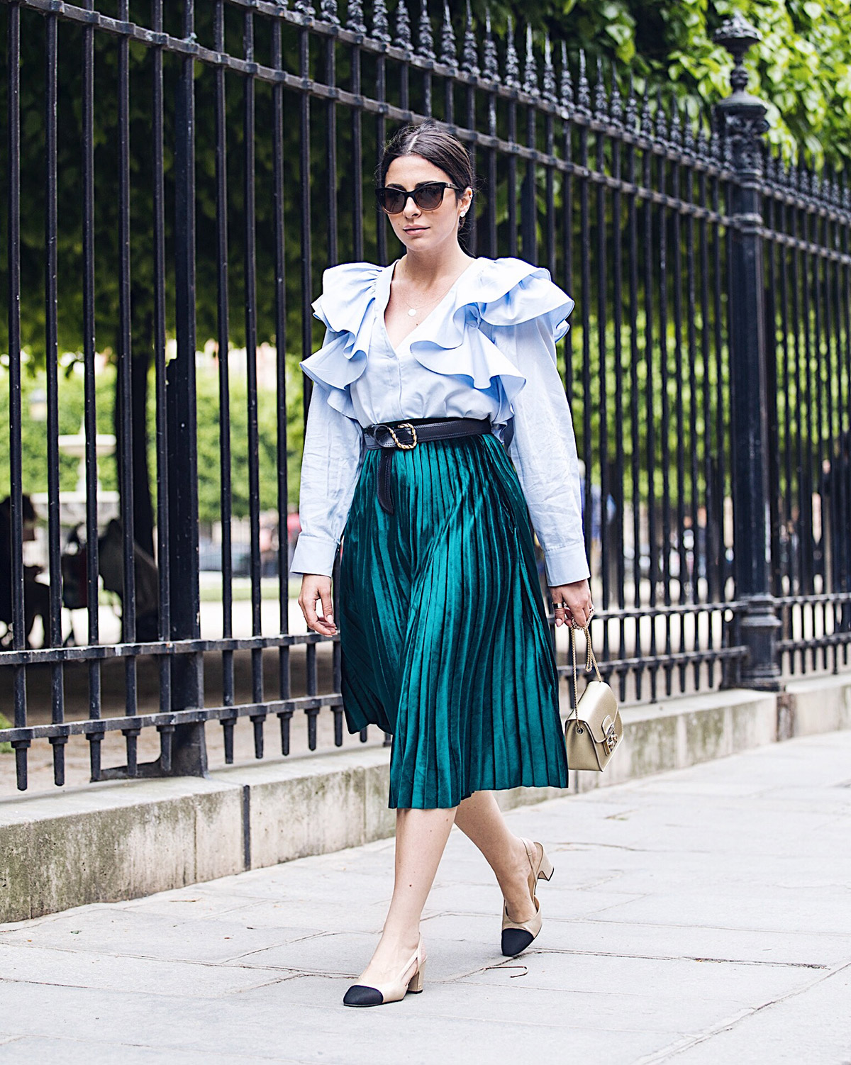 green velvet pleated skirt as seen at Stella Asteria Fashion & Lifestyle Blogger