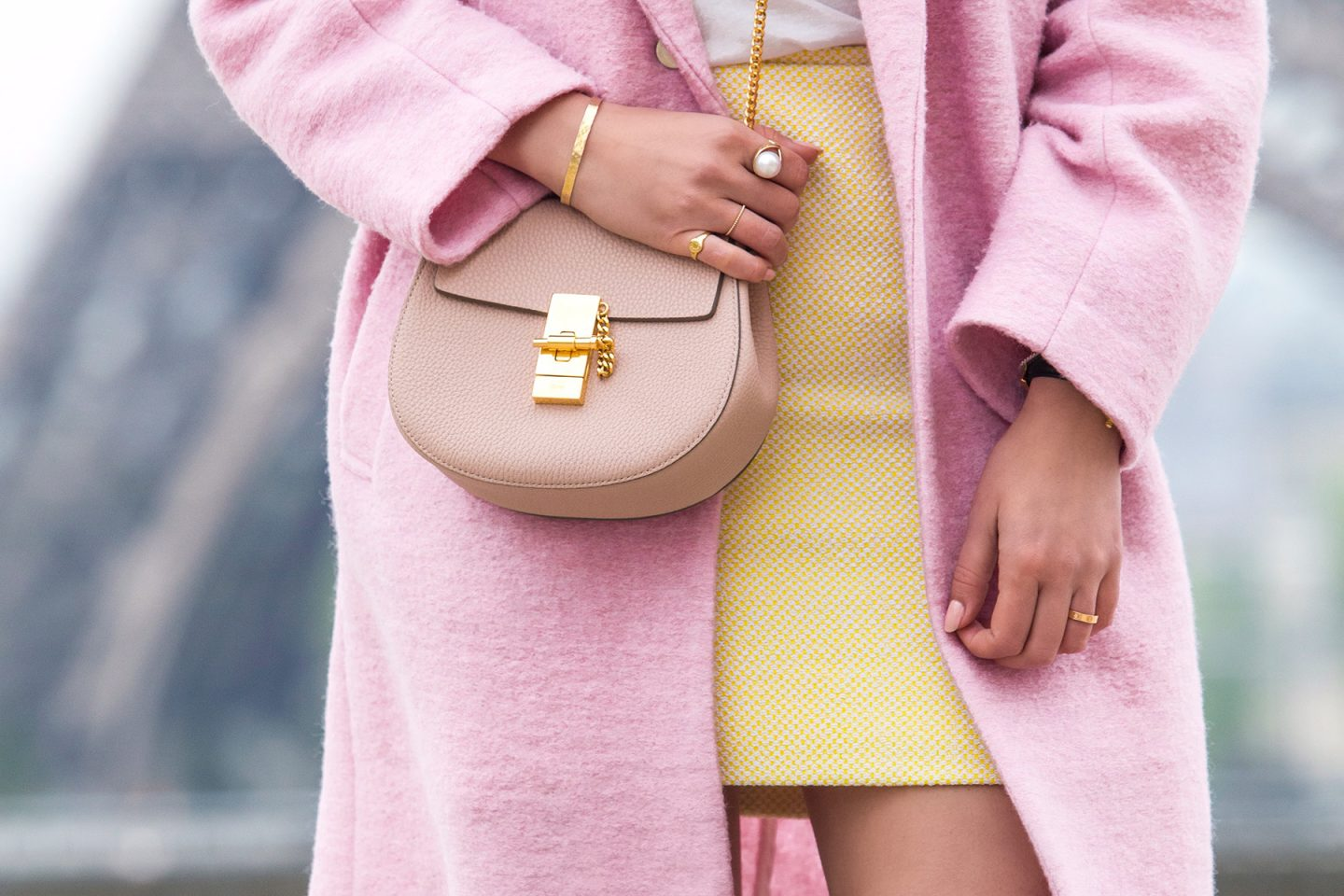 Pink & Yellow Outfit In Paris With Chanel Vintage Skirt