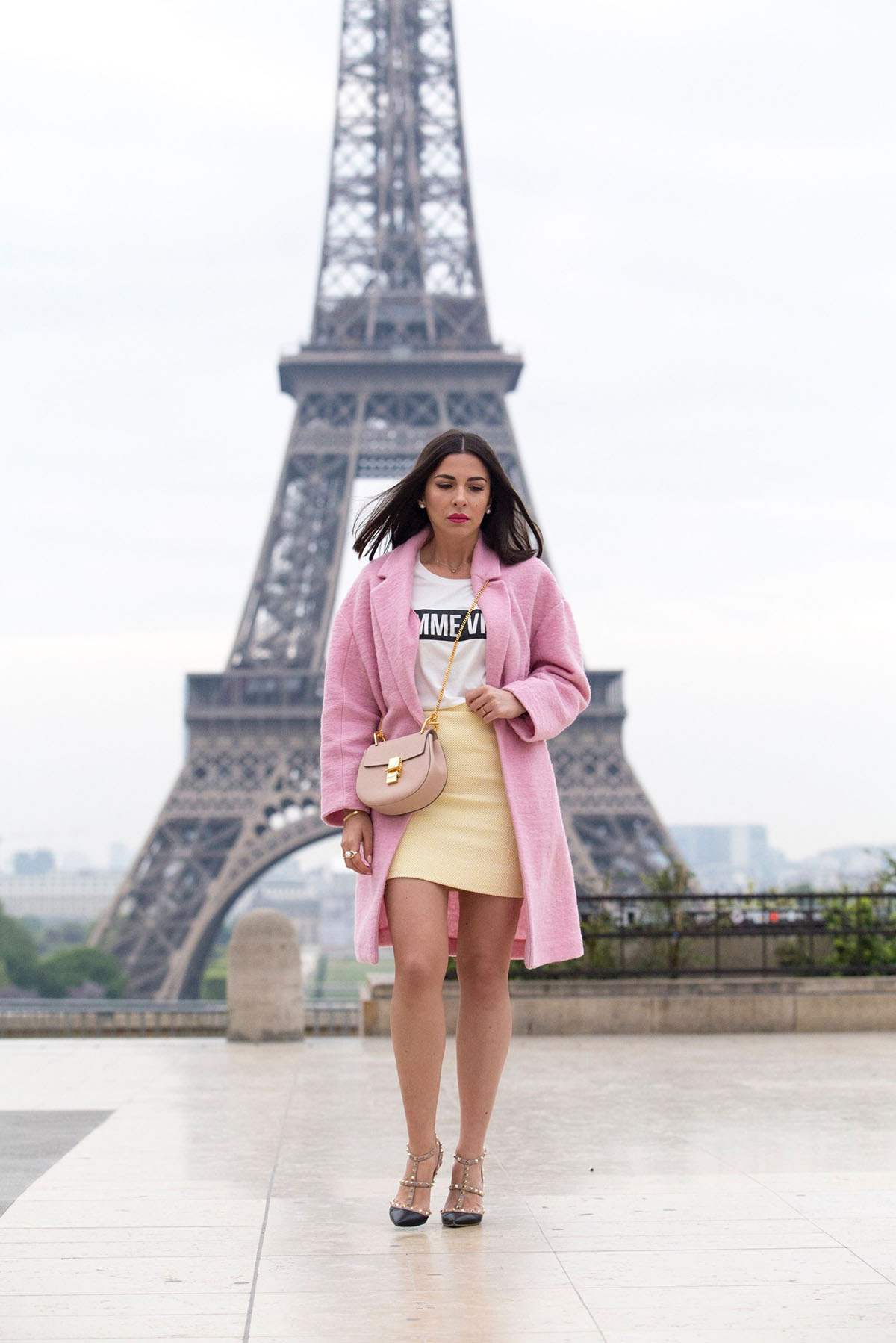 Chanel vintage yellow skirt and pink coat outfit b y Stella Asteria Fashion & Lifestyle Blogger