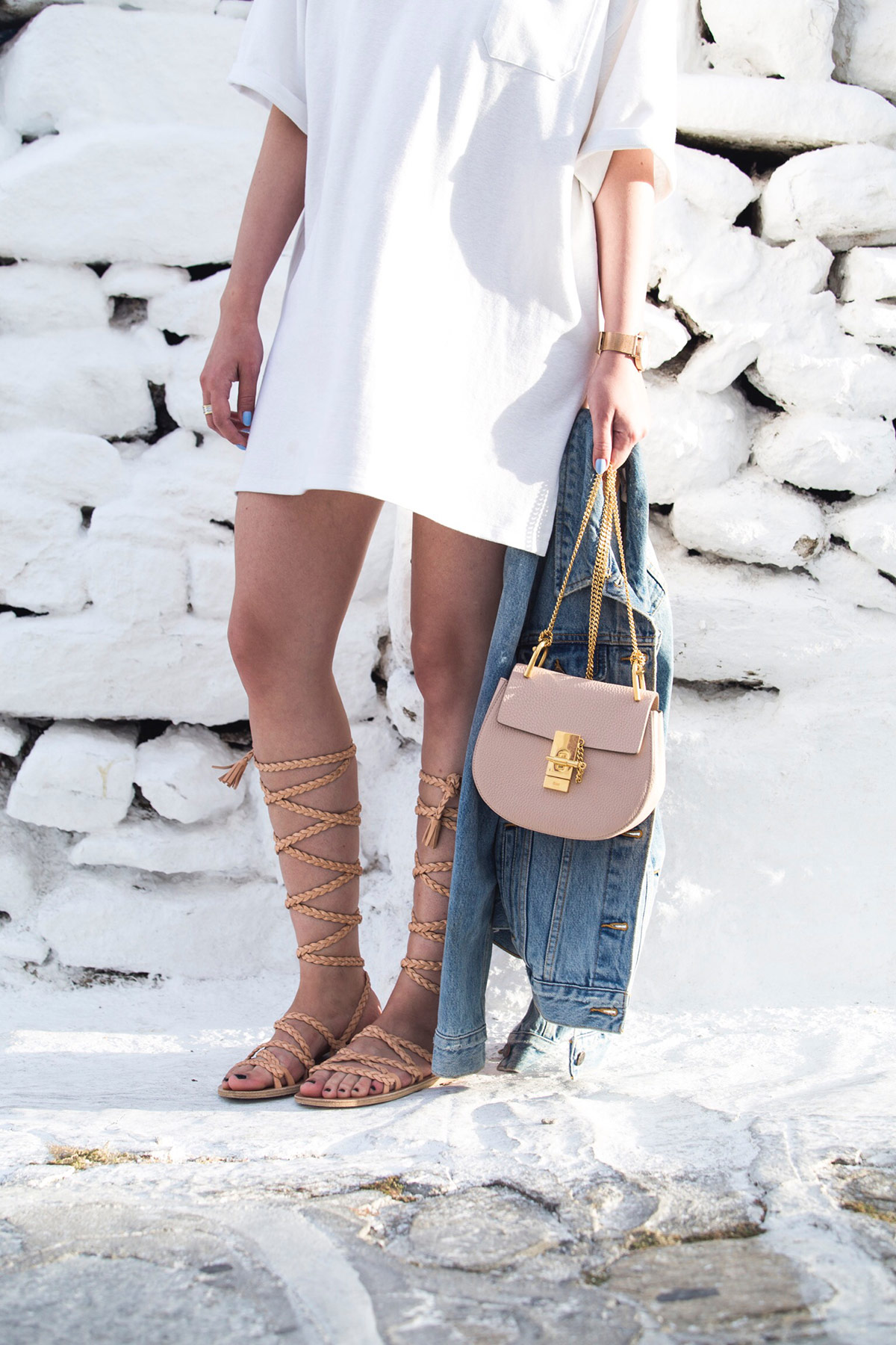 Chloe Drew bag mini, denim jacket and gladiator sandals as seen at Stella Asteria | Fashion & Lifestyle Blogger