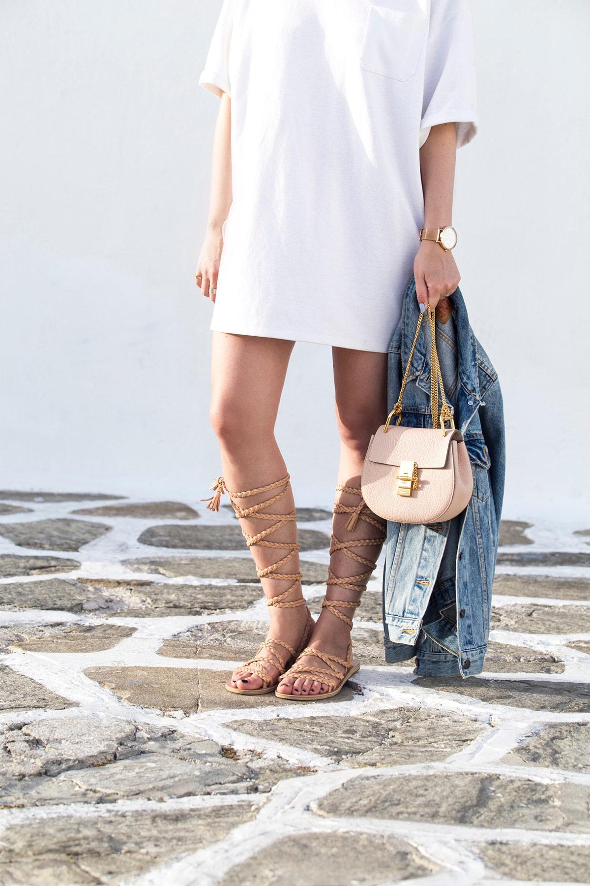 Chloe Drew bag mini, denim jacket and gladiator sandals as seen at Stella Asteria | Fashion & Lifestyle Blogger