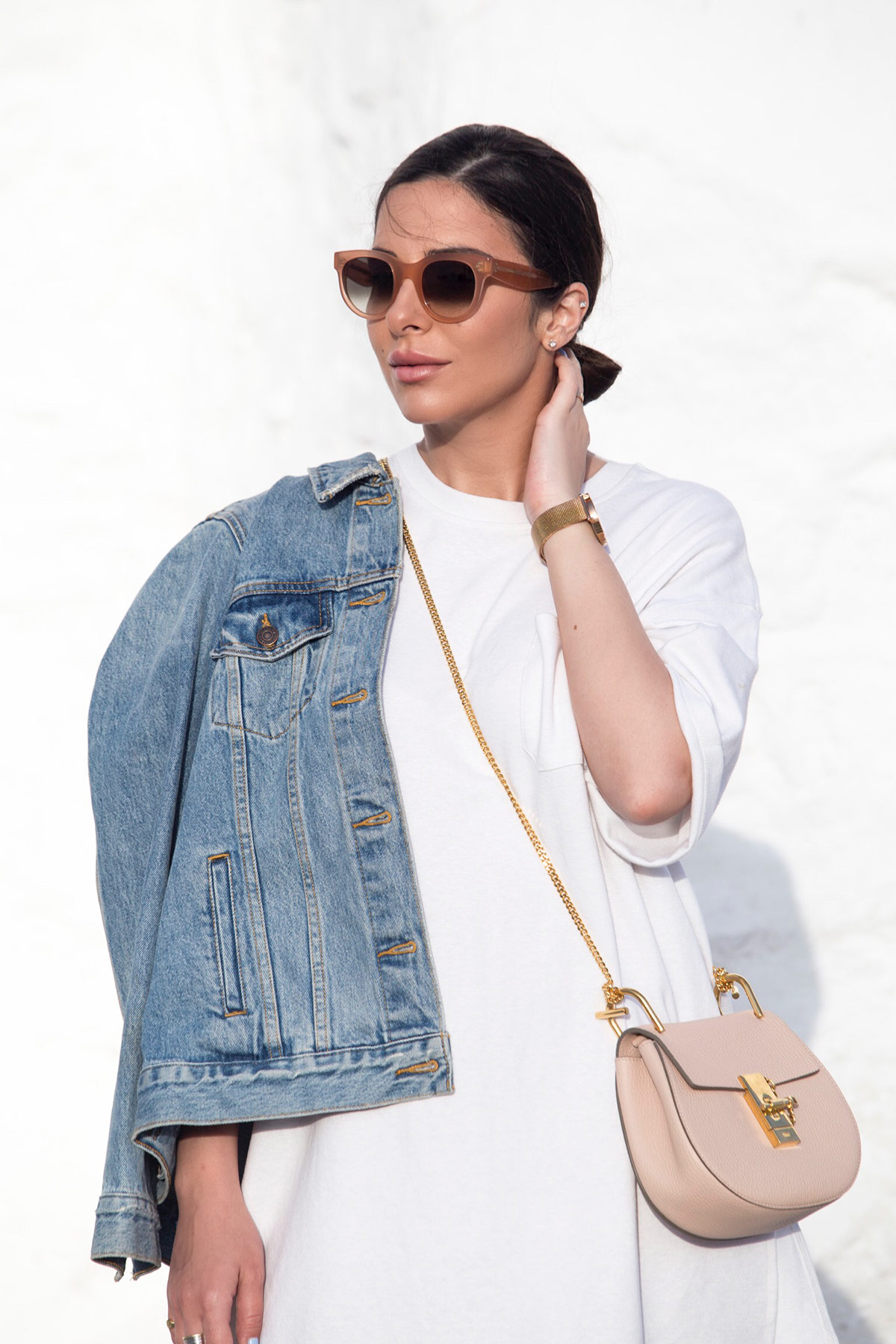 Chloe Drew bag mini, Celine sunglasses, denim jacket and gladiator sandals as seen at Stella Asteria | Fashion & Lifestyle Blogger