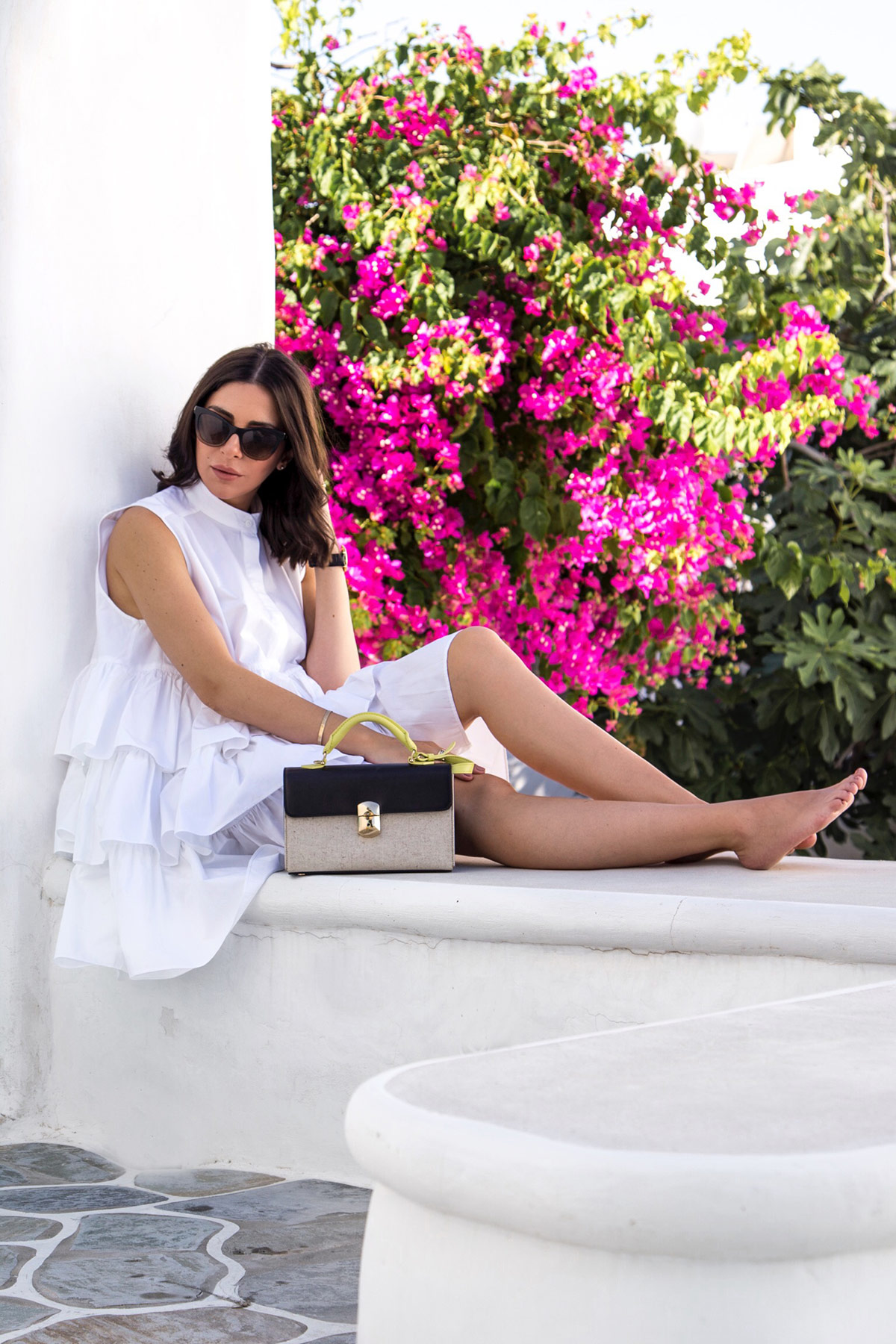 The Little White Multi Frill Shirt-Dress