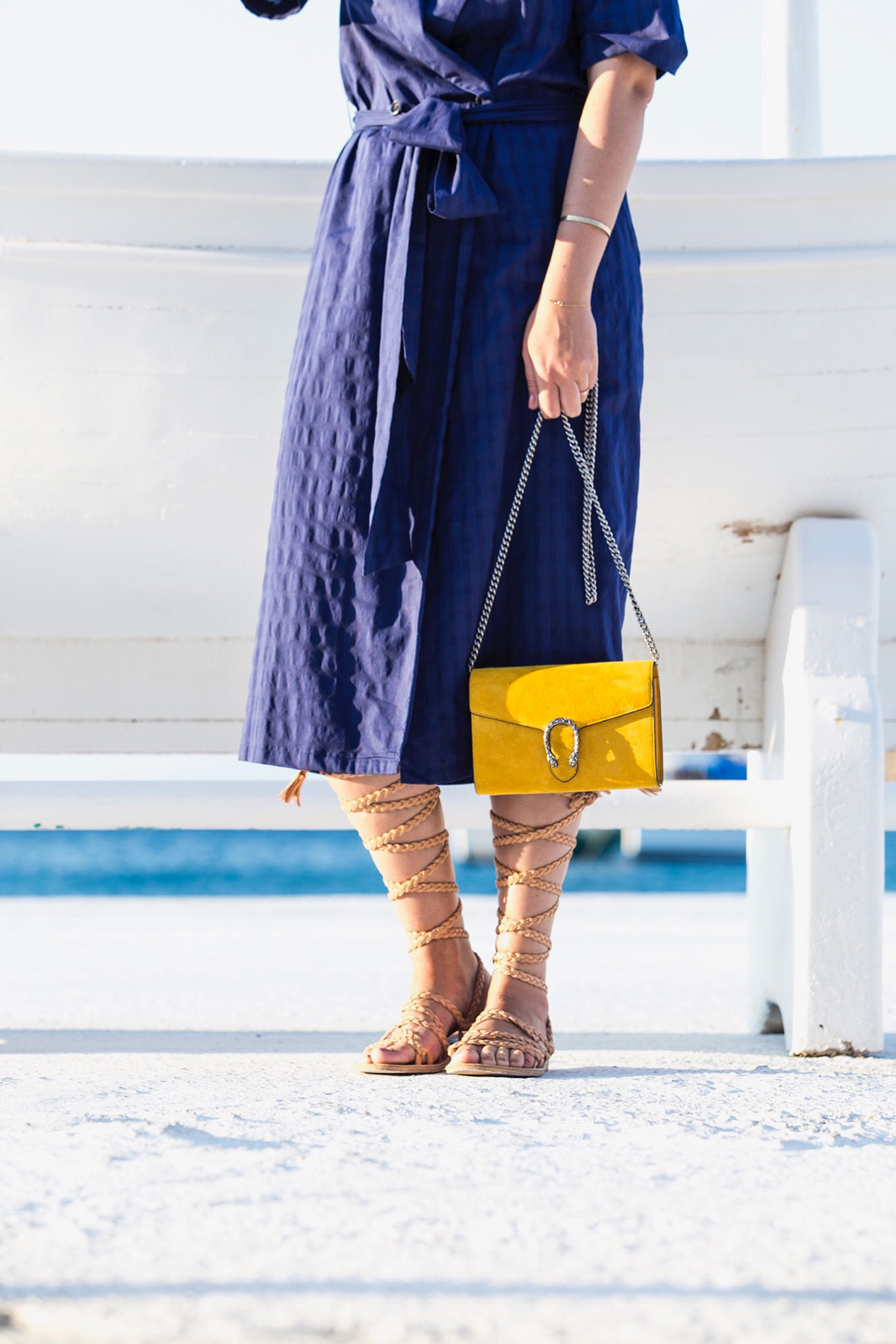 yellow Gucci Dionysus bag (chain wallet) and gladiator sandals by Stella Asteria | Fashion & Lifestyle Blogger