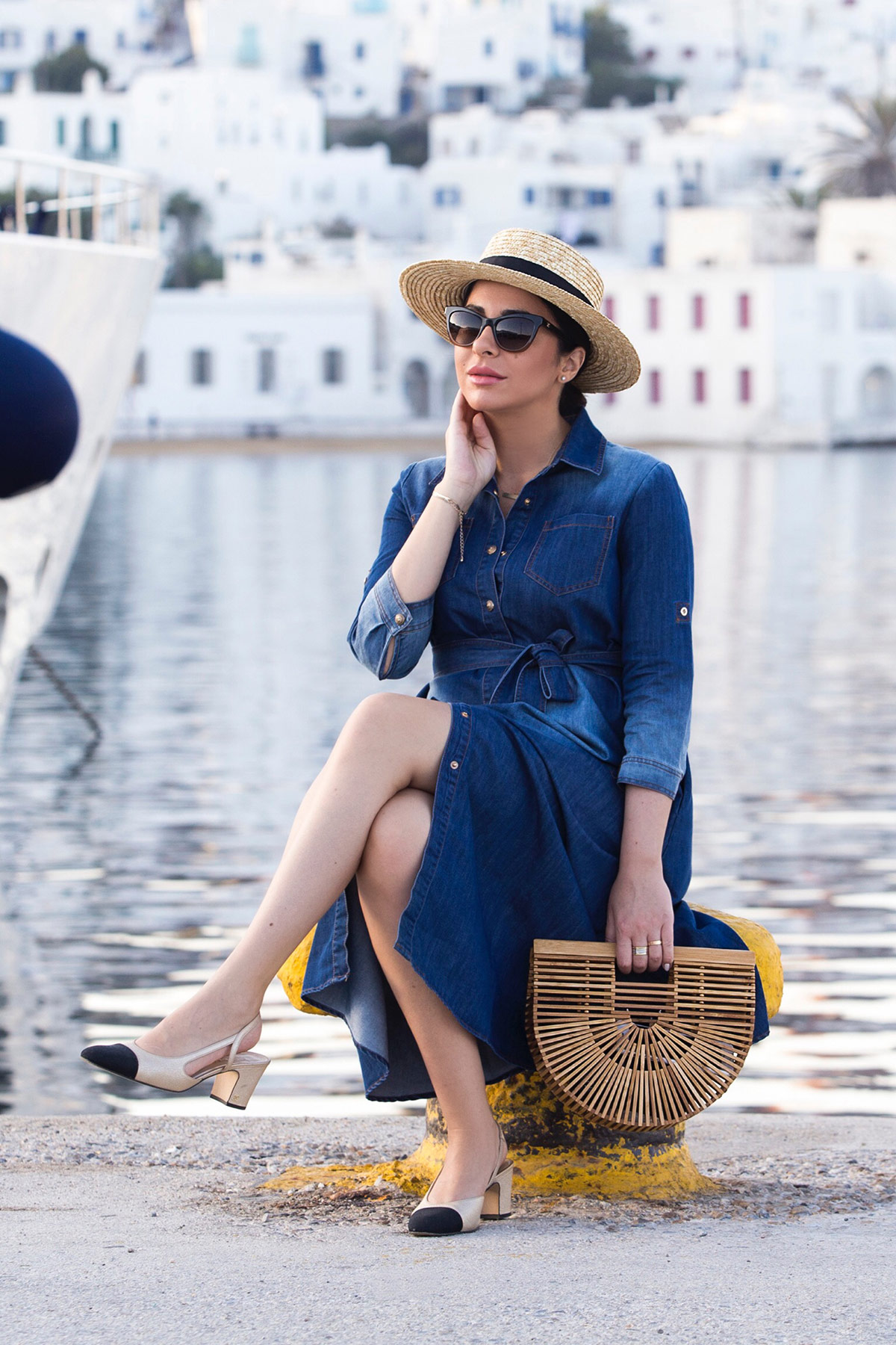 Cruise Chic With Denim Dress & Chanel Slingbacks