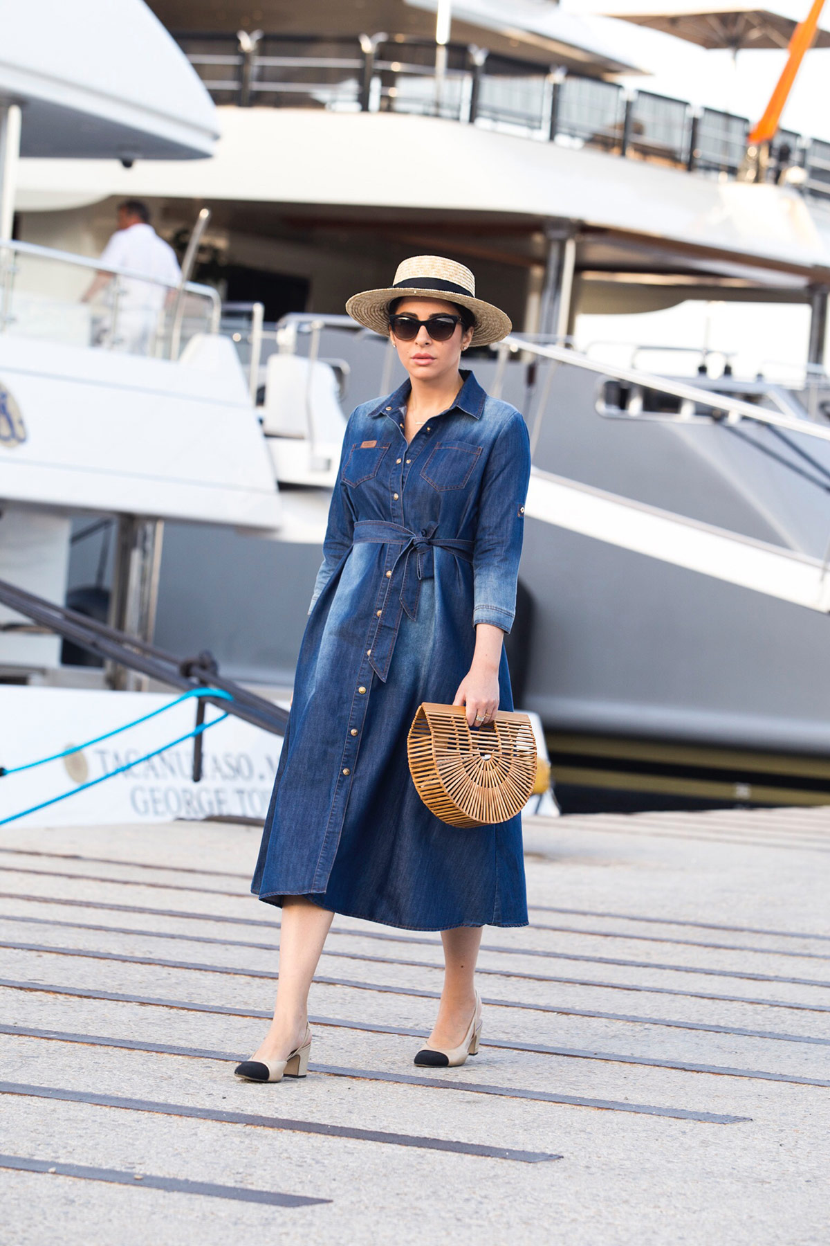 Cruise Chic Style with Denim Dress & Chanel Slingbacks from Stella Asteria