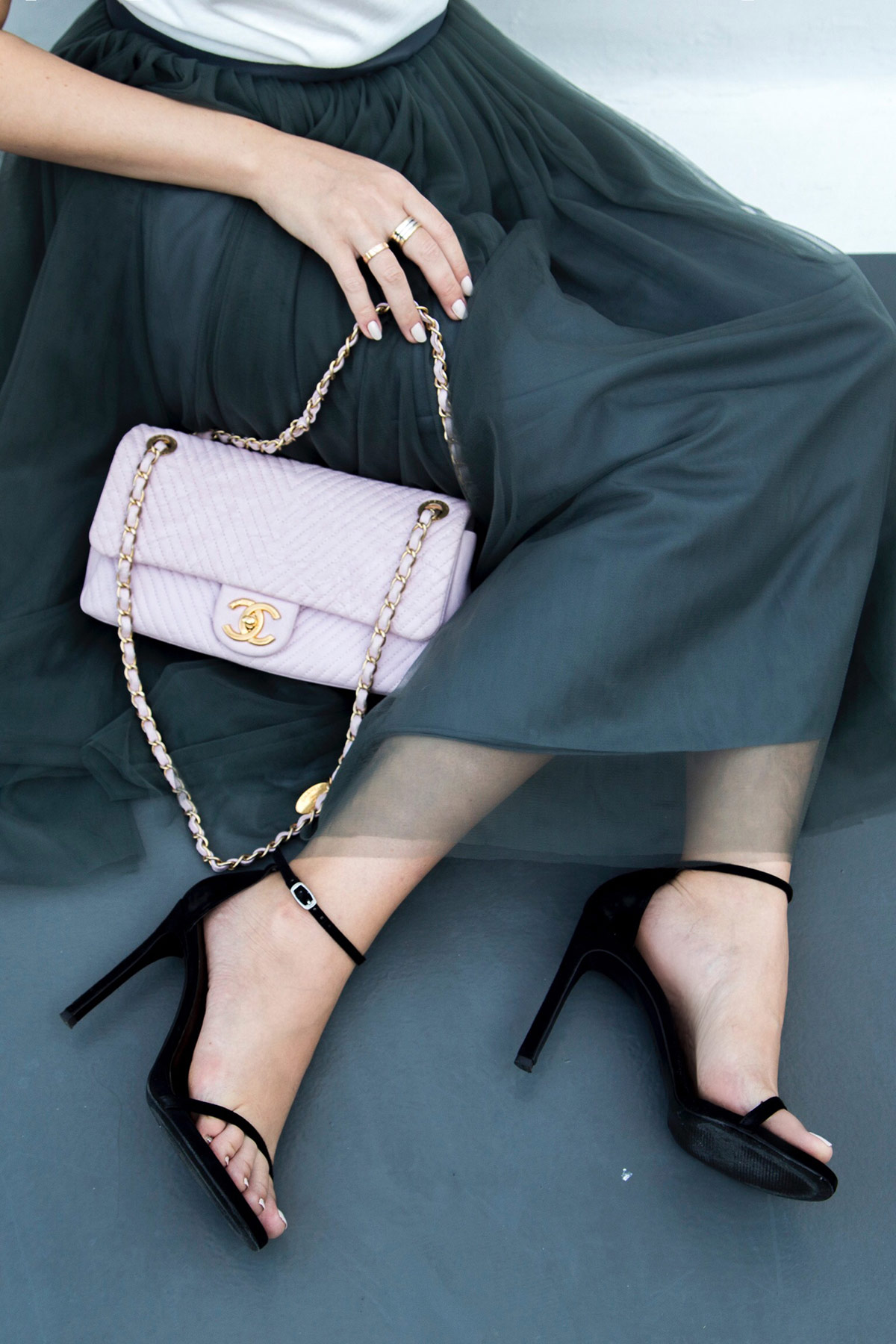 "tulle skirt, pink Chanel bag & Stuart Weitzman ""Nudist"" sandals by Stella Asteria - Fashion & Lifestyle Blogger"