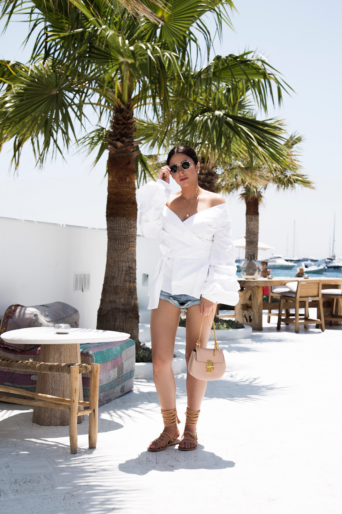 summer outfit idea: off shoulder wrap shirt & Chloe Drew Bag from Stella Asteria - Fashion & Lifestyle Blogger